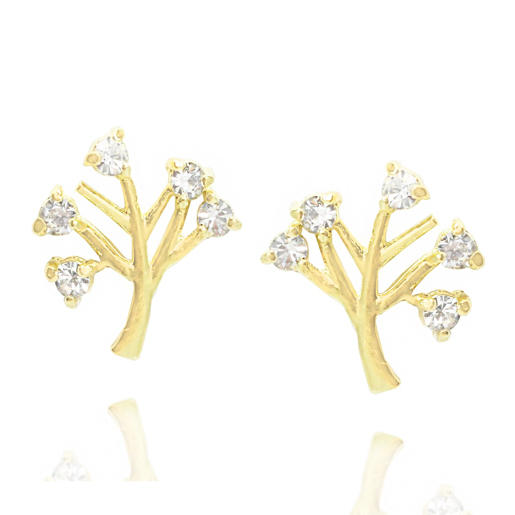 Brinco Árvore Da Vida Strass Folheado Ouro 18k