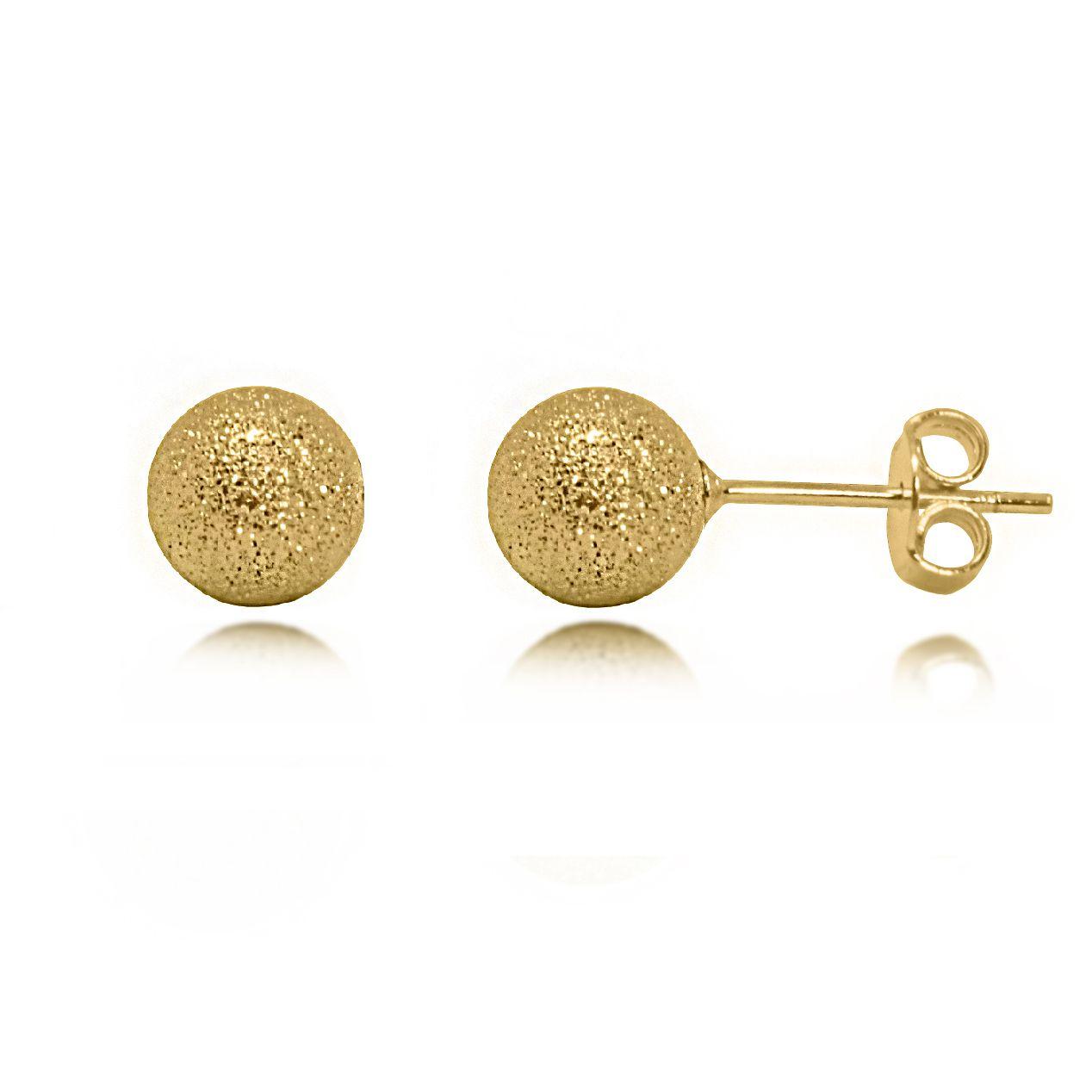 Brinco Bolinha Texturizada 6mm Folheado a Ouro 18k  - Lunozê Joias