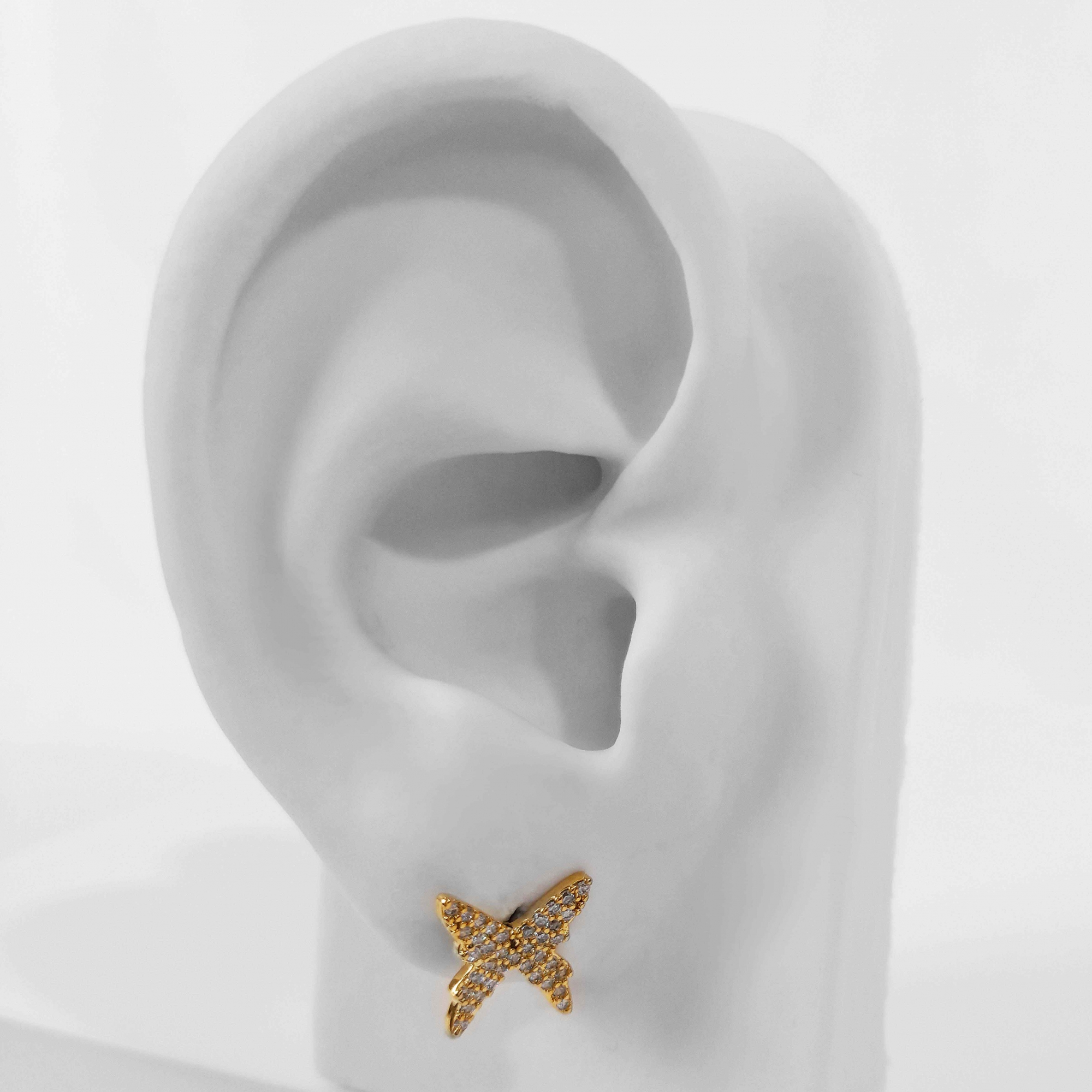 Brinco Borboleta Cravejada em Zircônias Folheado a Ouro 18k  - Lunozê Joias