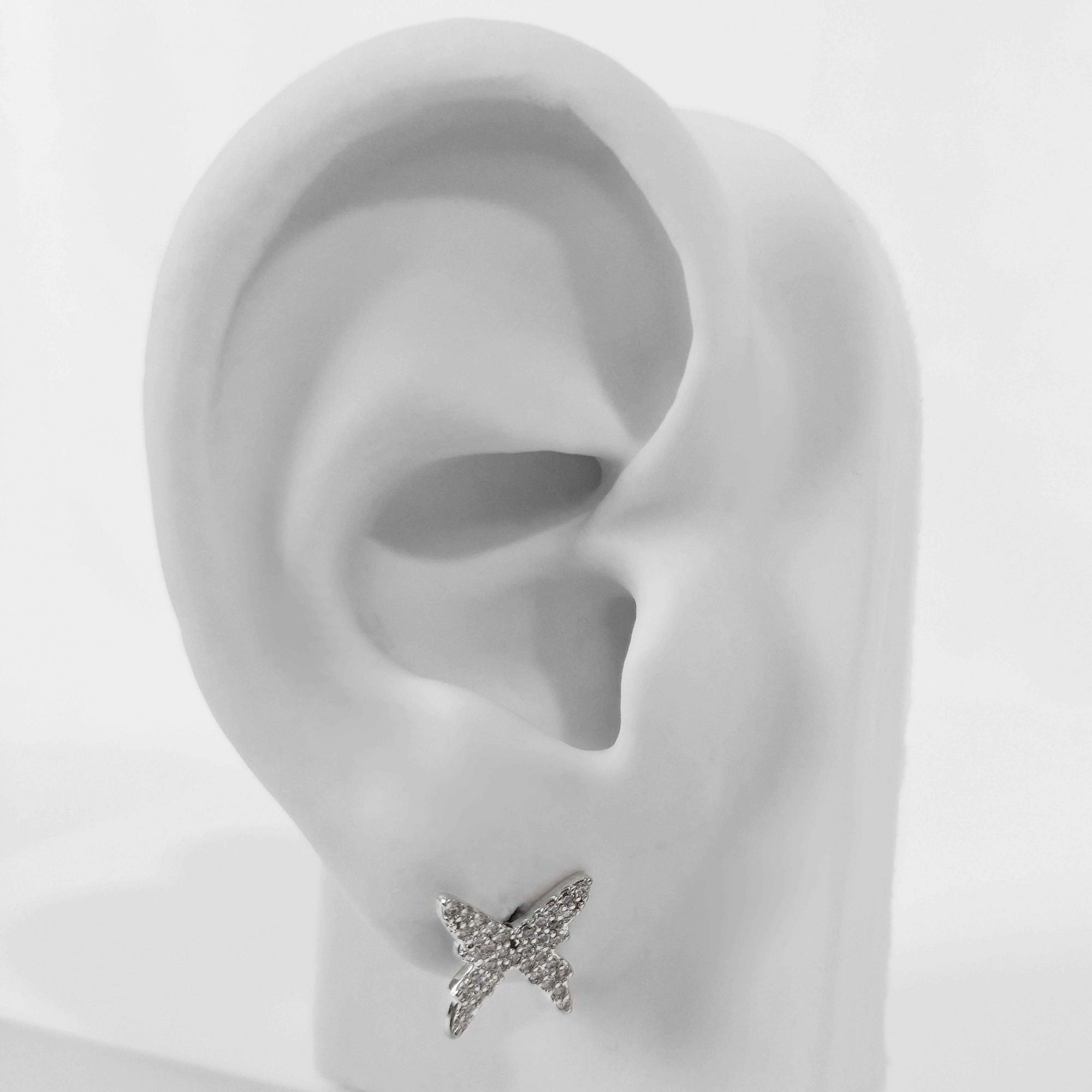 Brinco Borboleta Cravejada em Zircônias Folheado Prata 1000  - Lunozê Joias