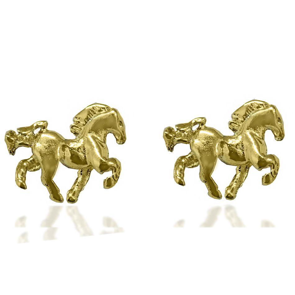 Brinco Cavalo Folheado a Ouro 18k