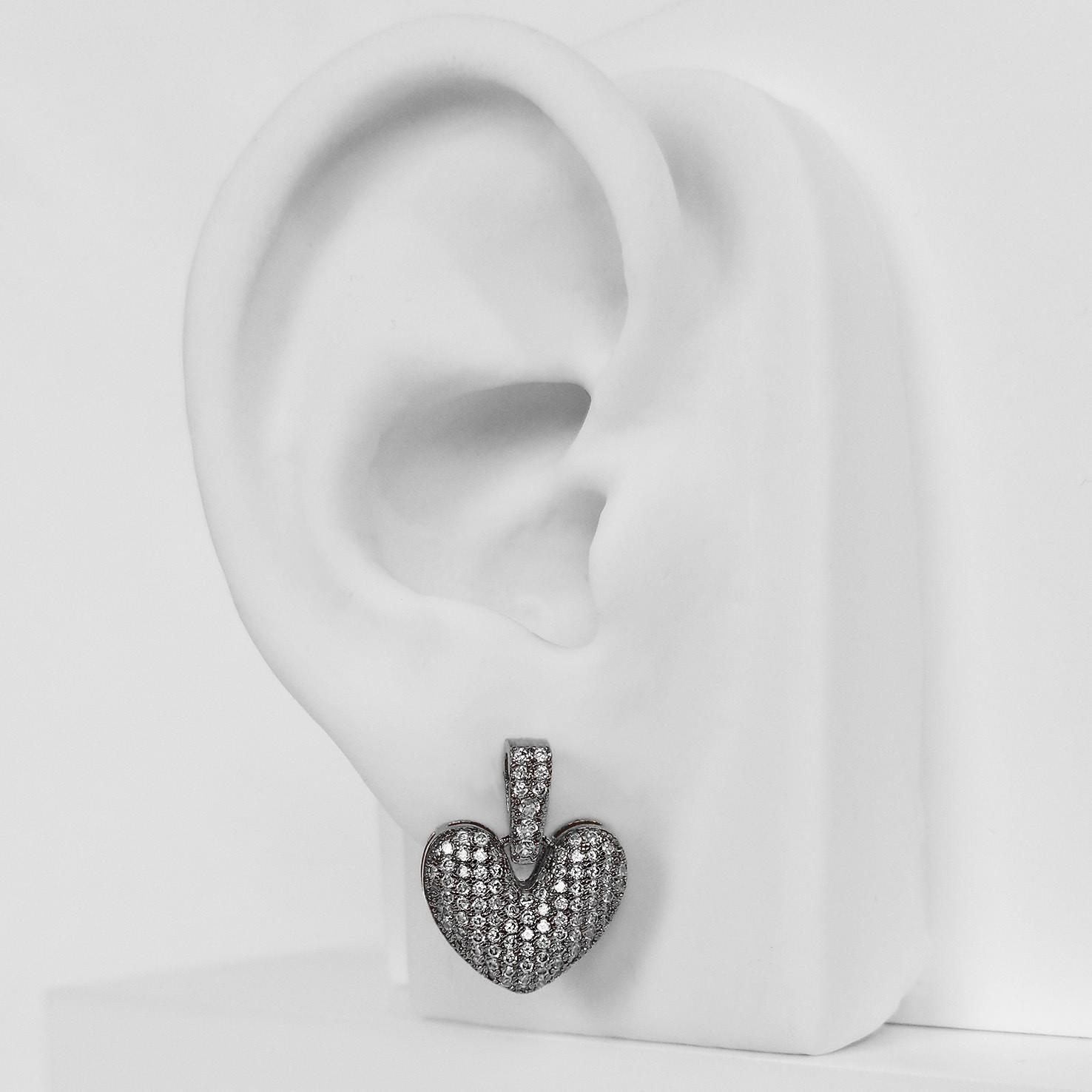 Brinco de Coração com Zircônias Folheado a Ródio Negro  - Lunozê Joias