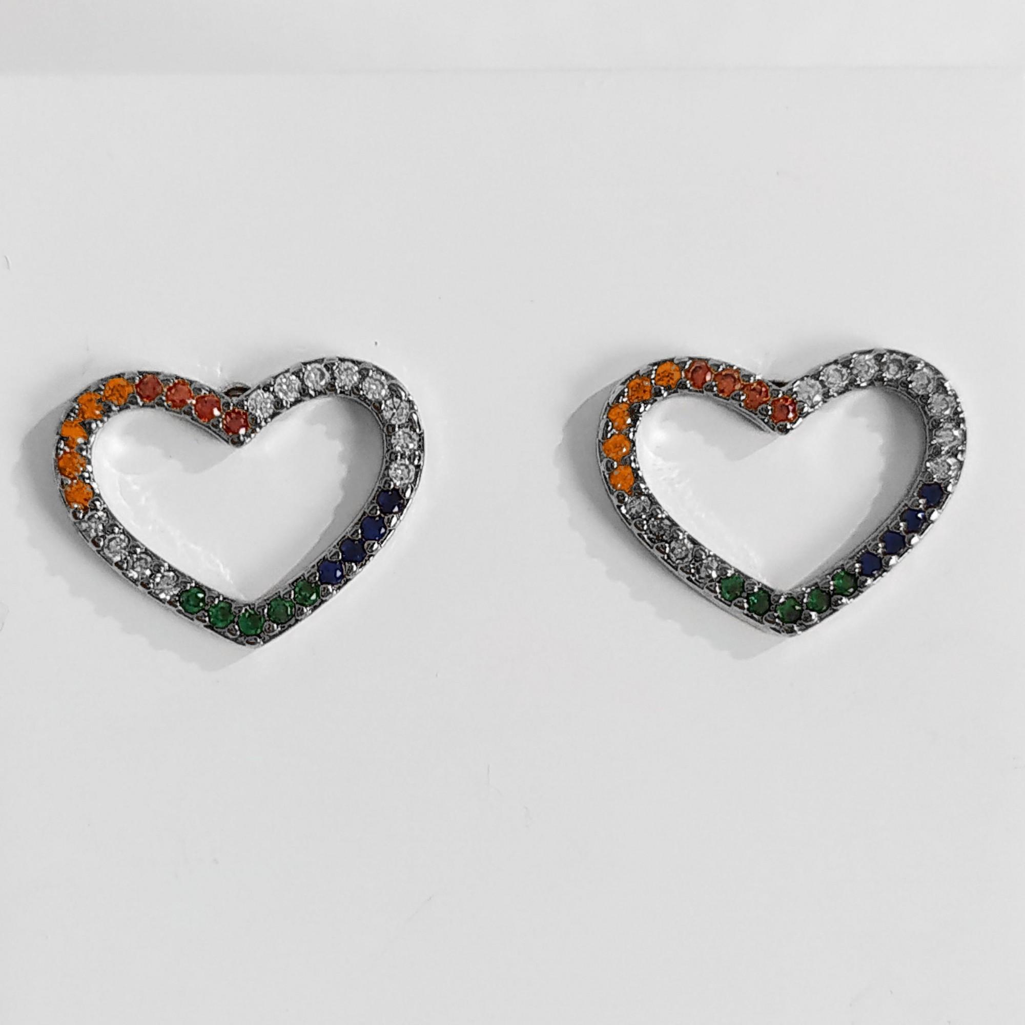 Brinco de Coração Zircônia Colorida Banho Ródio Negro  - Lunozê Joias