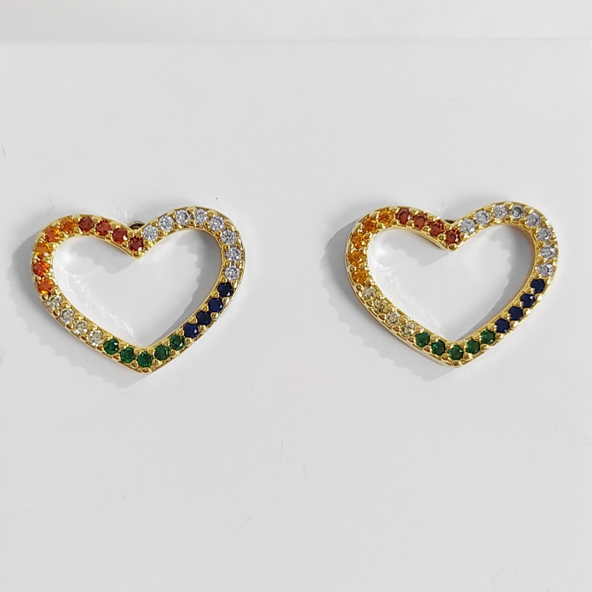 Brinco de Coração Zircônia Colorida Folheado a Ouro 18k  - Lunozê Joias
