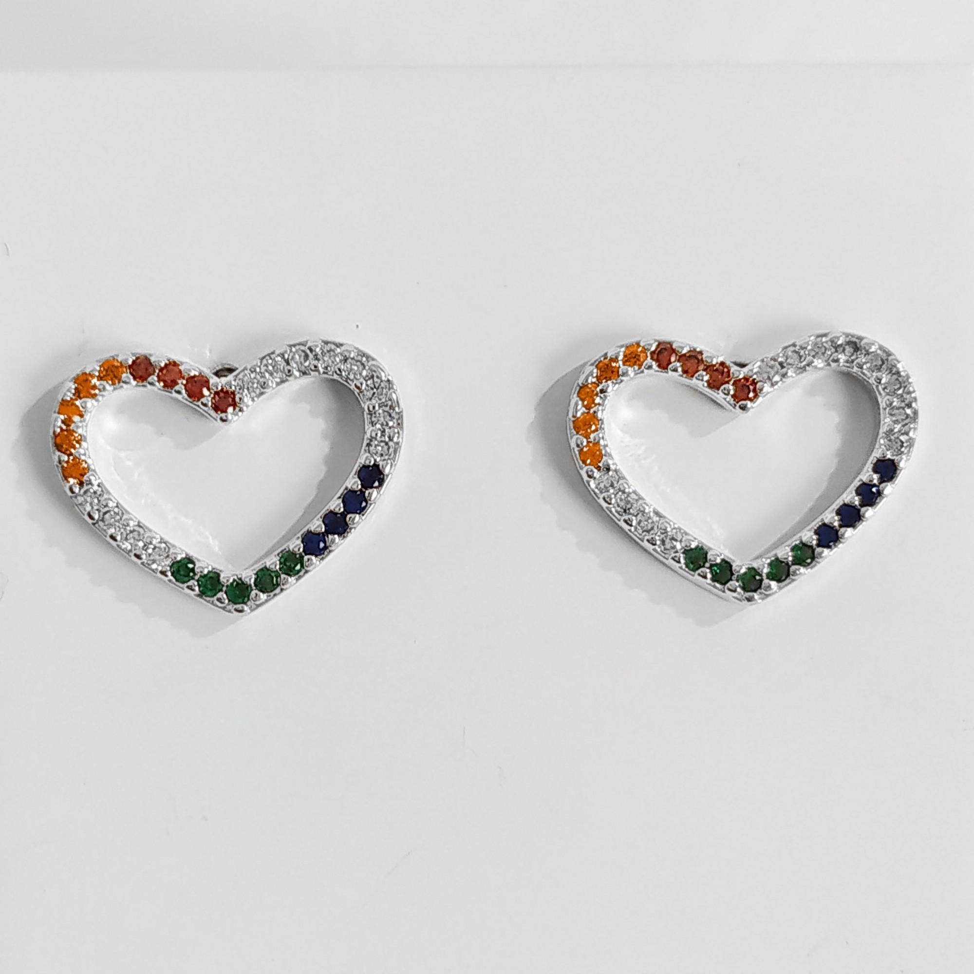 Brinco de Coração Zircônia Colorida Folheado a Prata 1000