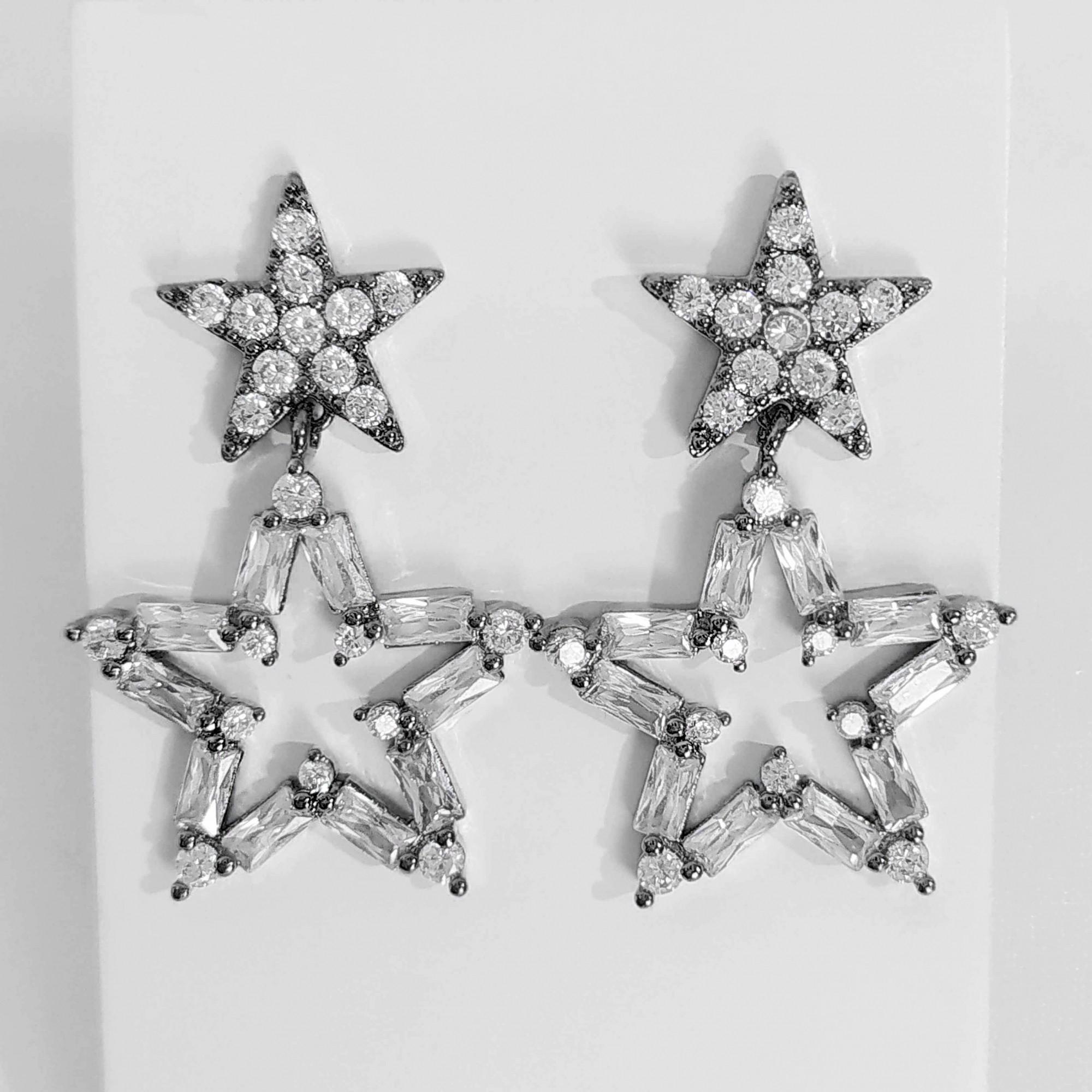 Brinco de Estrela com Zircônias Banho Ródio Negro  - Lunozê Joias