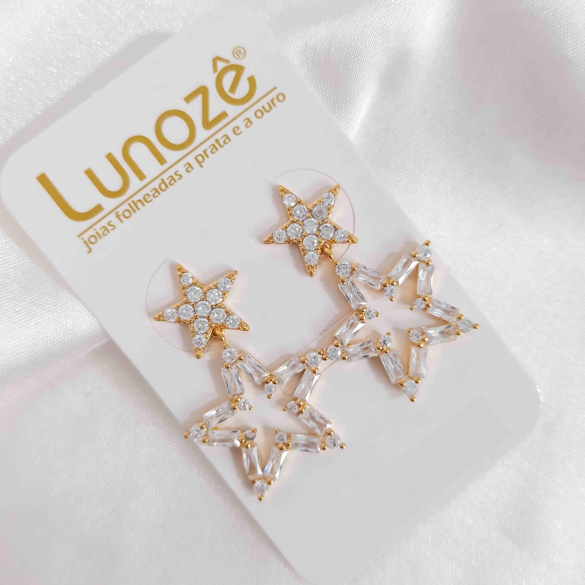Brinco de Estrela com Zircônias Folheado a Ouro 18K  - Lunozê Joias