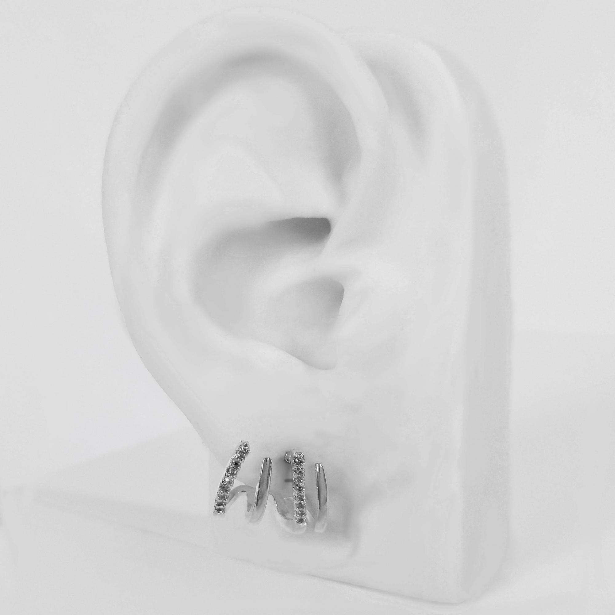Brinco Ear Cuff 4 Fios com Micro Zircônia Folheado Prata 1000  - Lunozê Joias