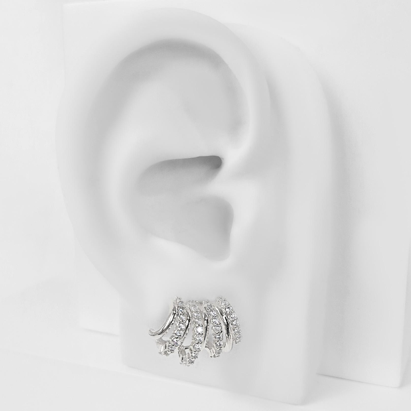 Brinco Ear Cuff Argolinhas Cravejadas Folheado a Prata 1000  - Lunozê Joias