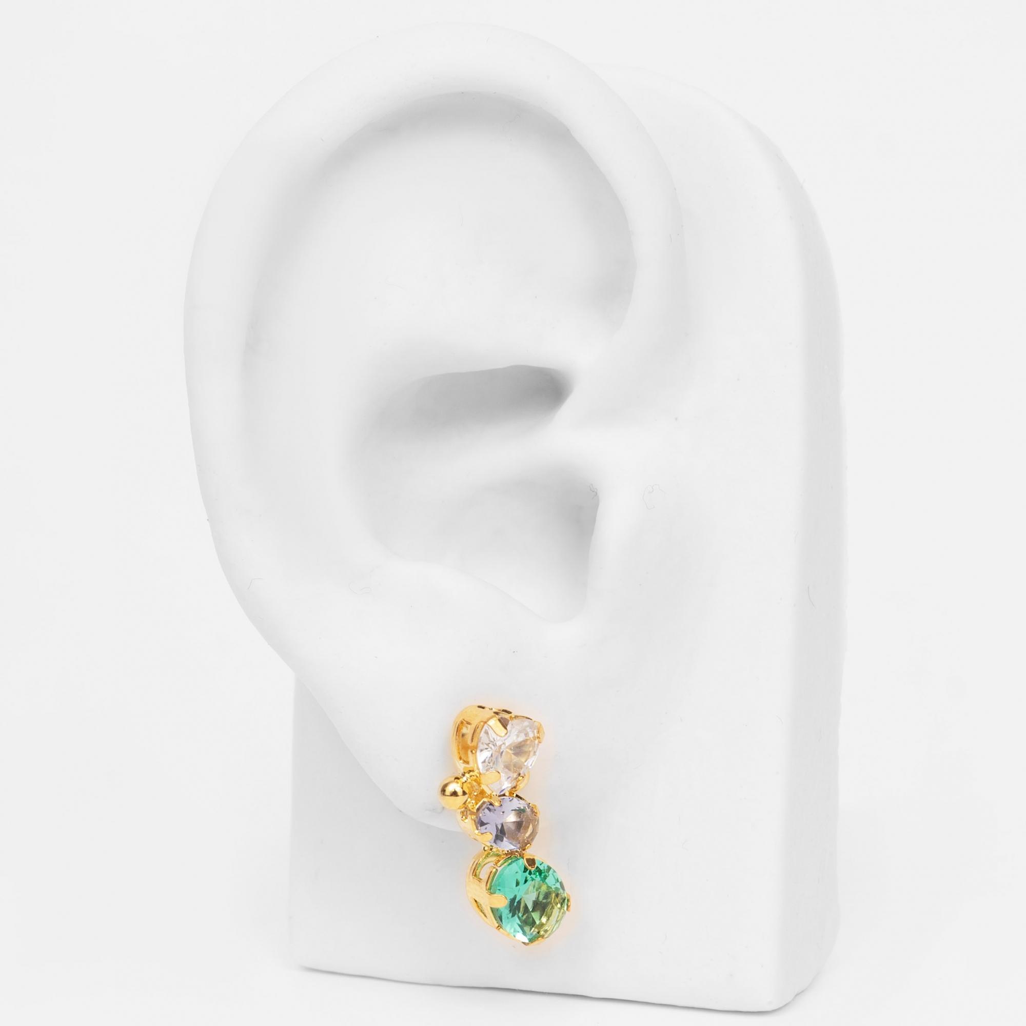 Brinco Ear Cuff com Zircônias Coração e Ovais Folheado Ouro 18k  - Lunozê Joias