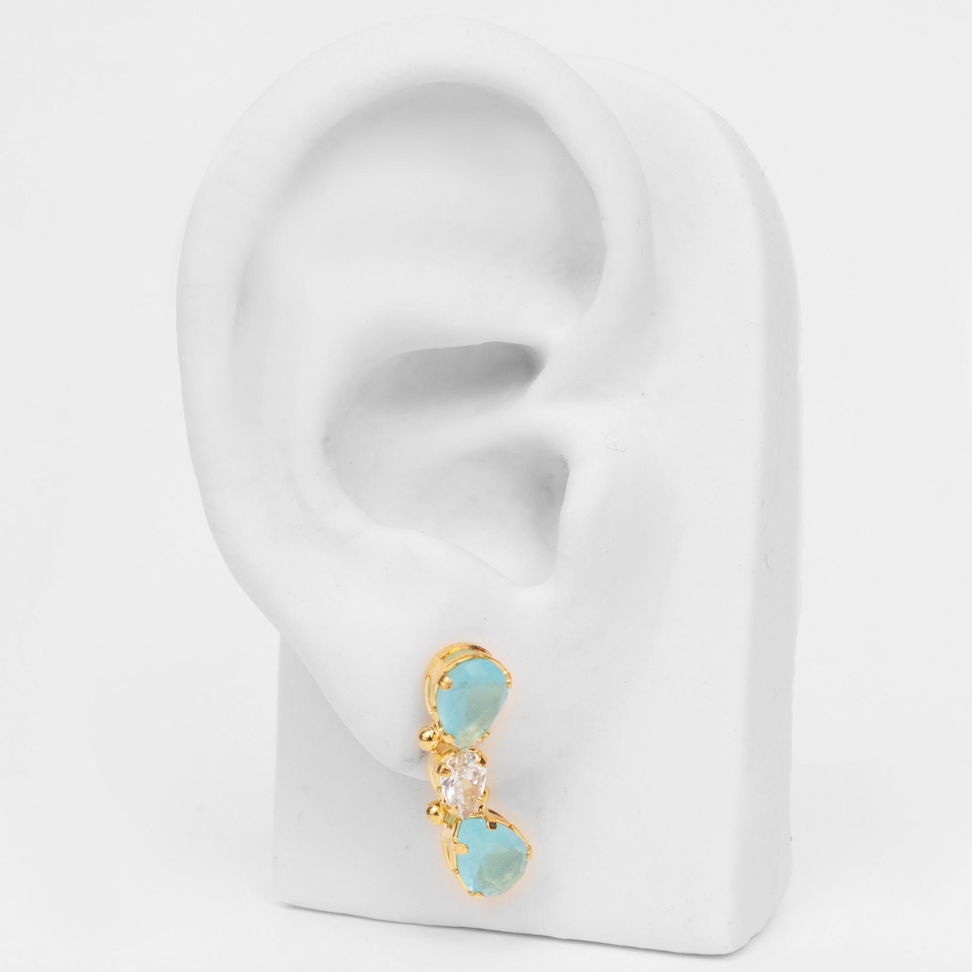 Brinco Ear Cuff com Zircônias Gotas Folheado Ouro 18k  - Lunozê Joias