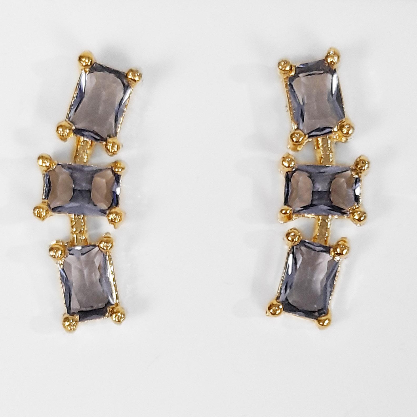 Brinco Ear Cuff com Zircônias Retangulares Folheado a Ouro 18k  - Lunozê Joias