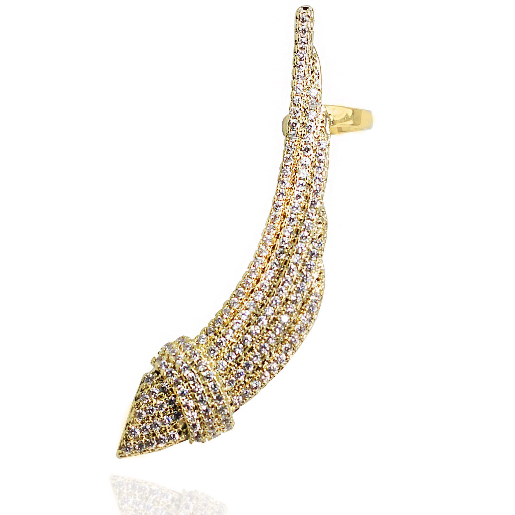 118c1db29d51d Brinco Ear Cuff Zircônia Cravejada Folheado Ouro 18K - Lunozê Joias