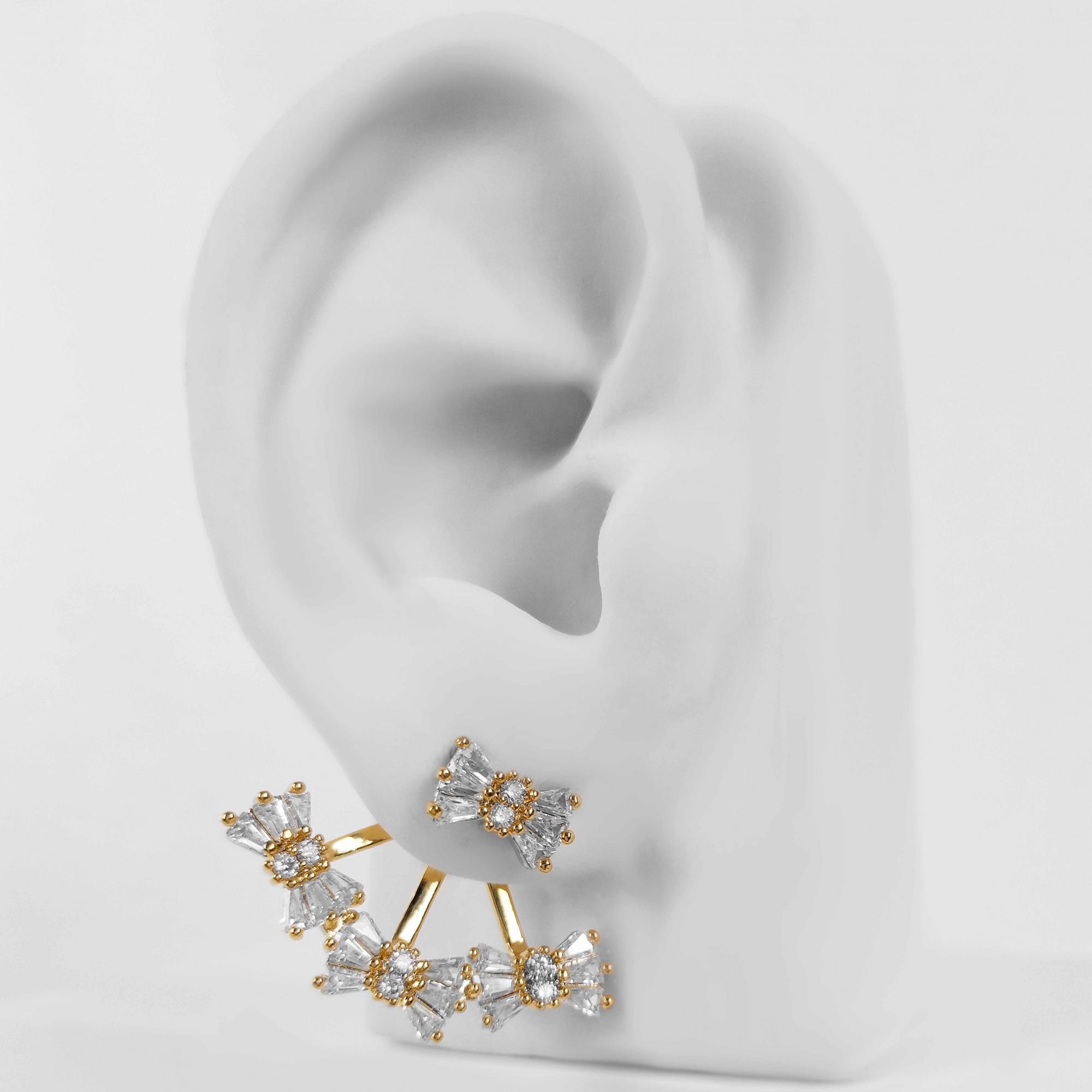 Brinco Ear Jacket Laços Zircônias Folheado a Ouro 18k  - Lunozê Joias