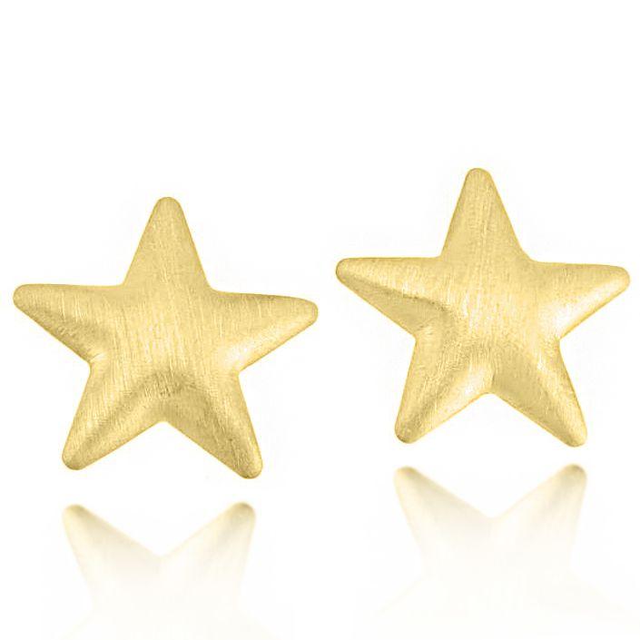 Brinco Estrela Polida Folheado a Ouro 18K