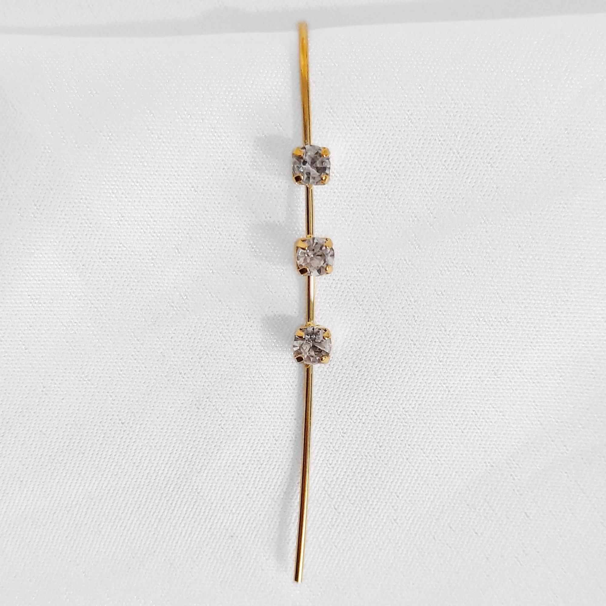 Brinco Hook Light 3 Pedras Strass Folheado Ouro 18k  - Lunozê Joias