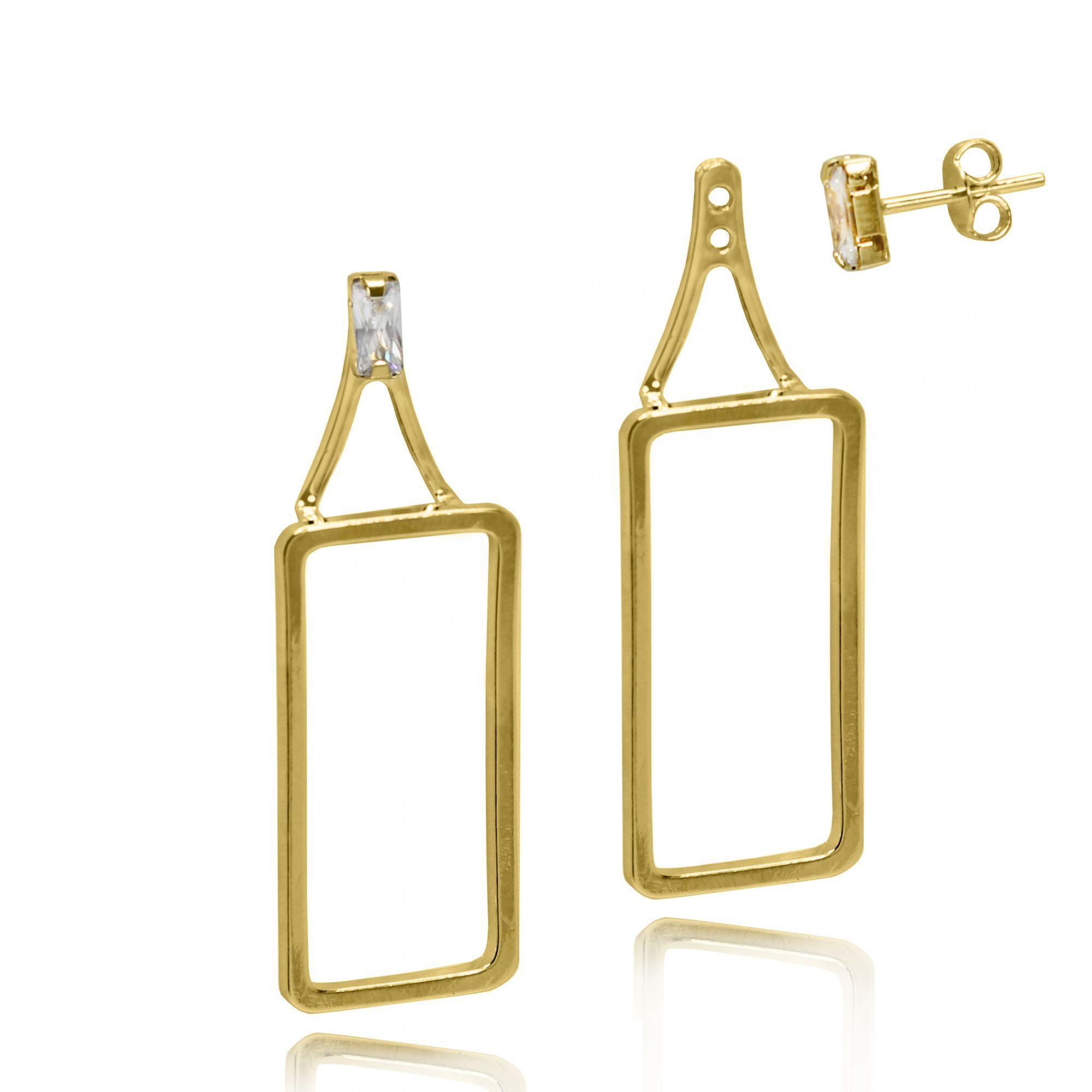 Brinco Médio Retangular Ear Jacket  Folheado Ouro 18k