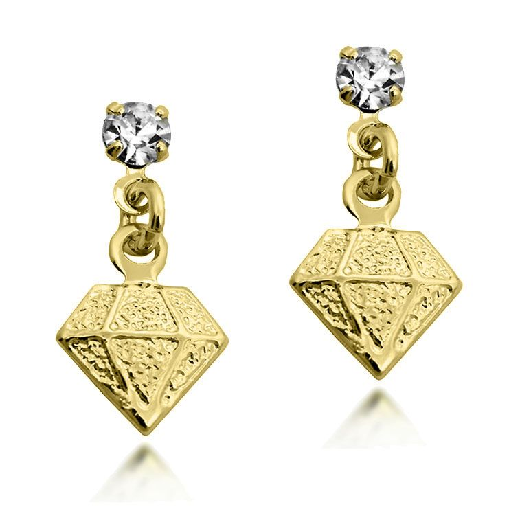 Brinco Pendente em Formato de Diamante Folheado a Ouro 18k