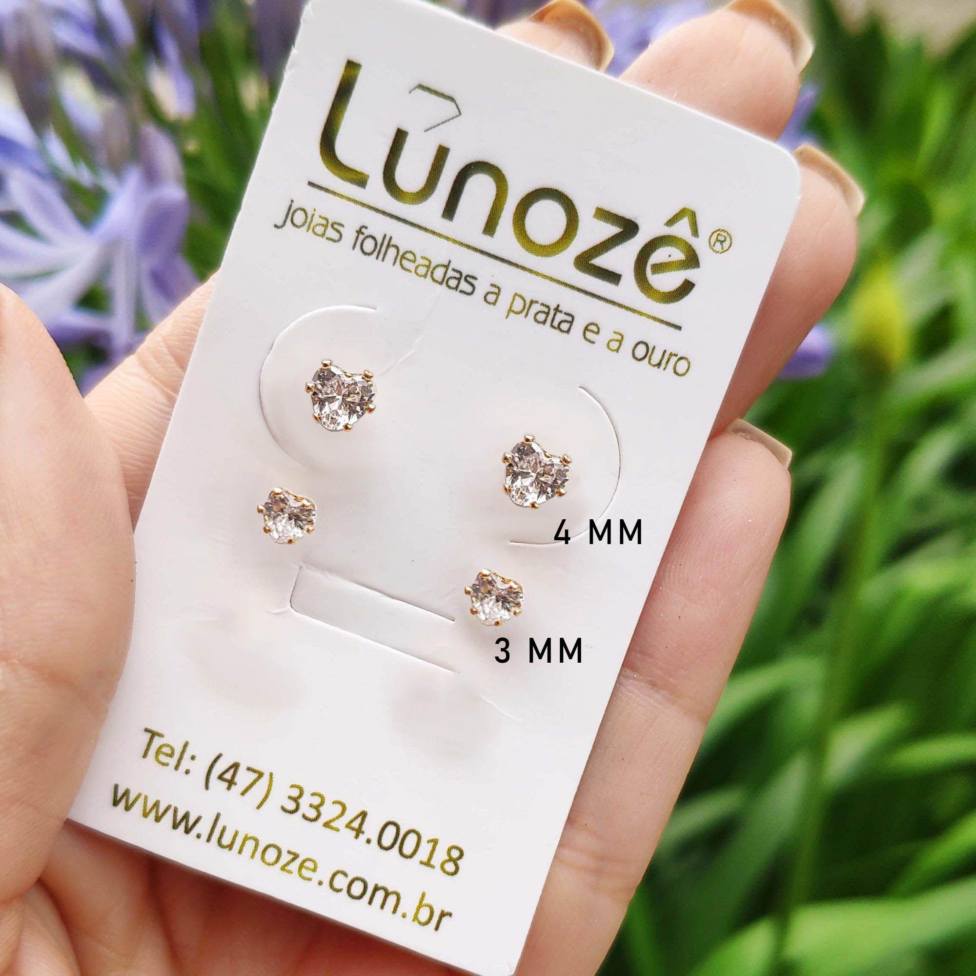 Brinco Pequeno Coração 4mm Zircônia Folheado a Ouro 18k  - Lunozê Joias
