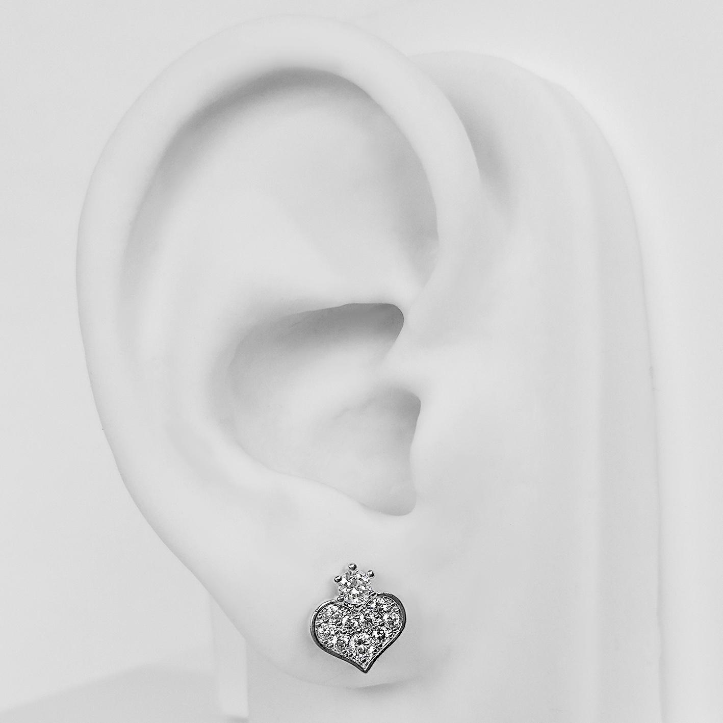 Brinco Pequeno Coração com Zircônias Folheado a Prata 1000  - Lunozê Joias