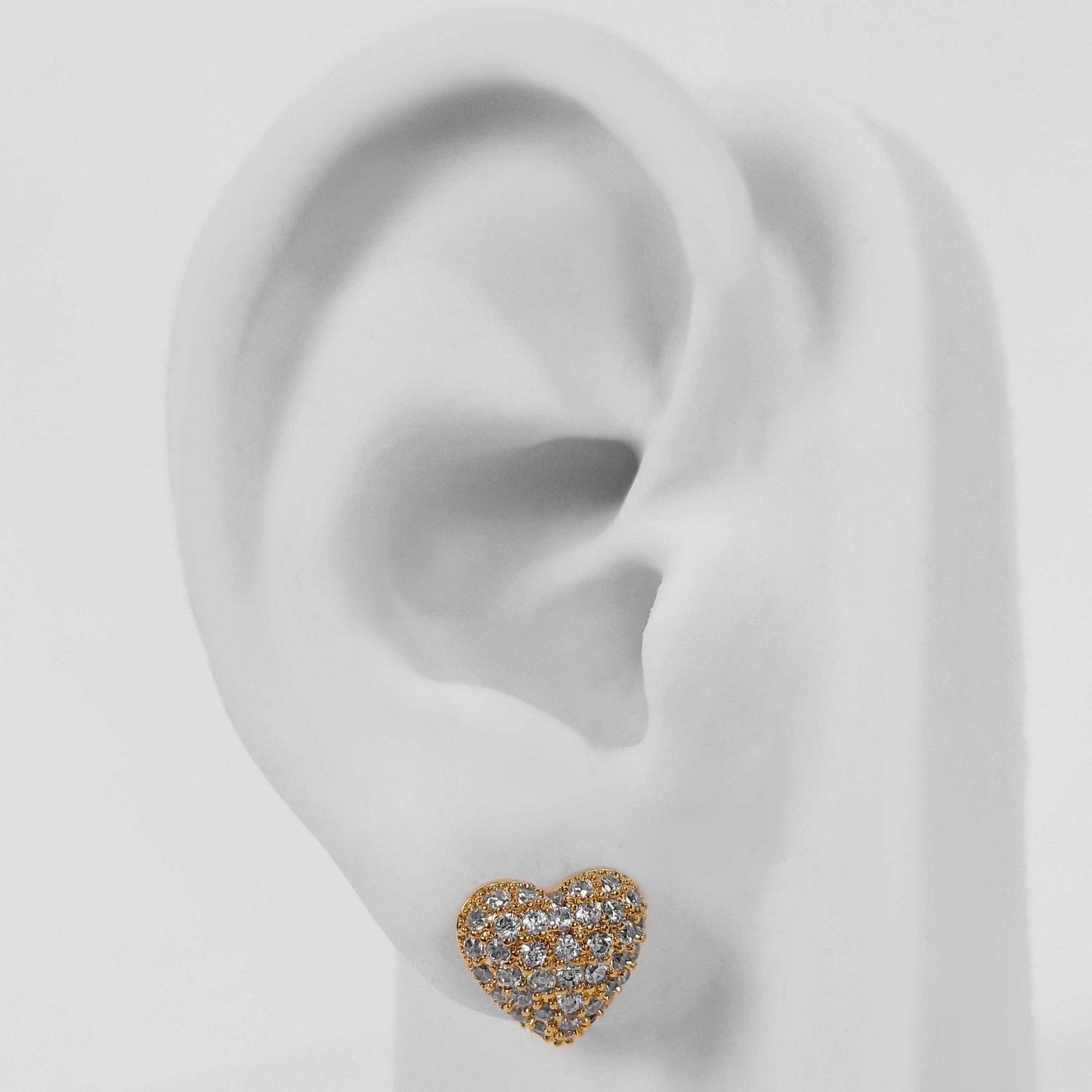Brinco Pequeno Coração Cristal Cravejado Folheado a Ouro 18k  - Lunozê Joias