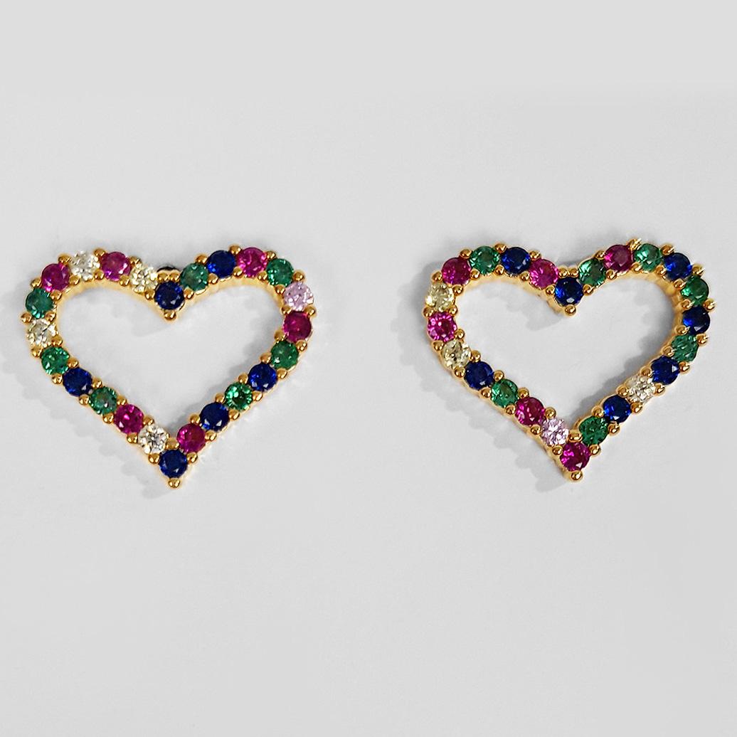 Brinco Pequeno Coração Vazado Zircônia Folheado a Ouro 18K   - Lunozê Joias