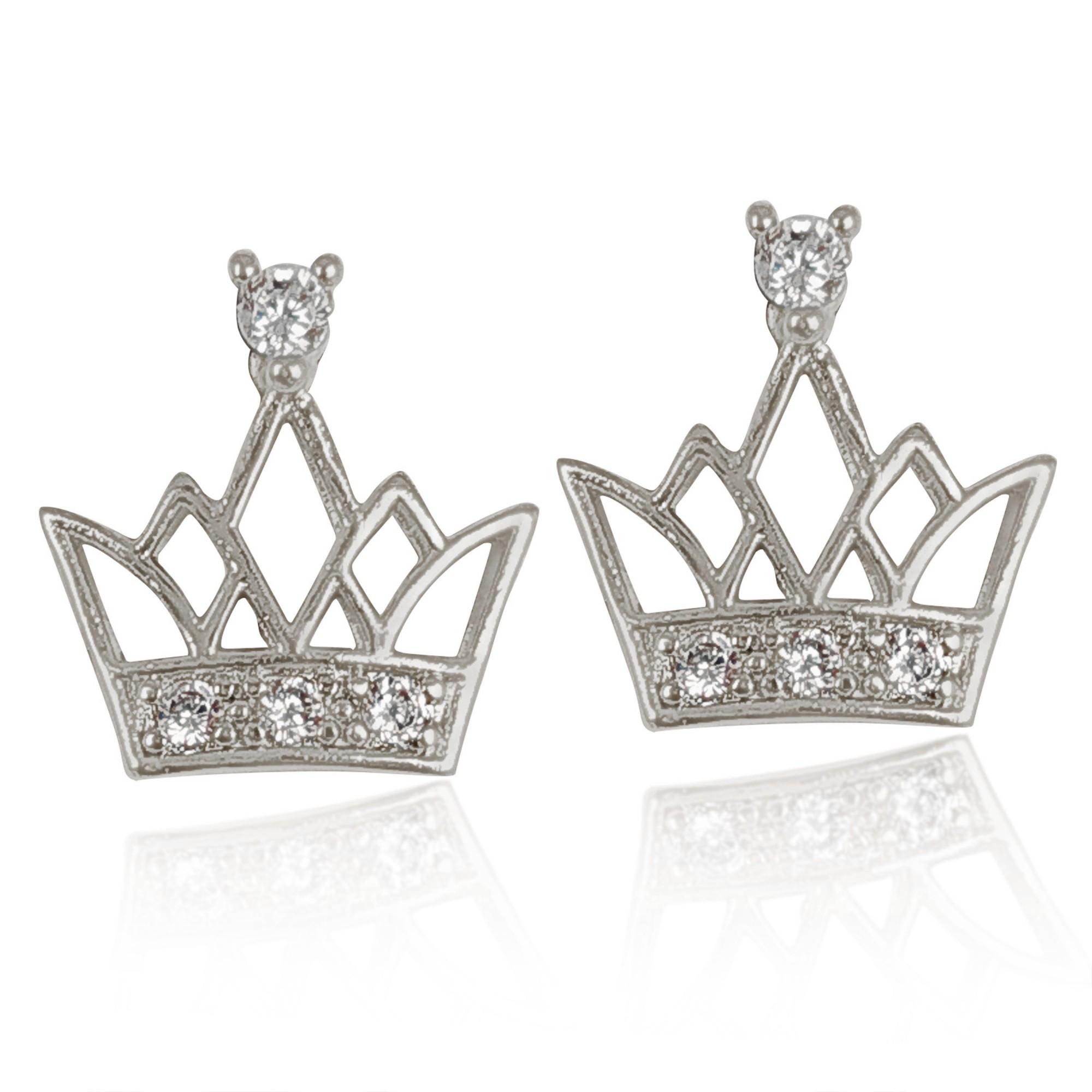 Brinco Pequeno Coroas de Zircônia Folheado a Prata 1000  - Lunozê Joias