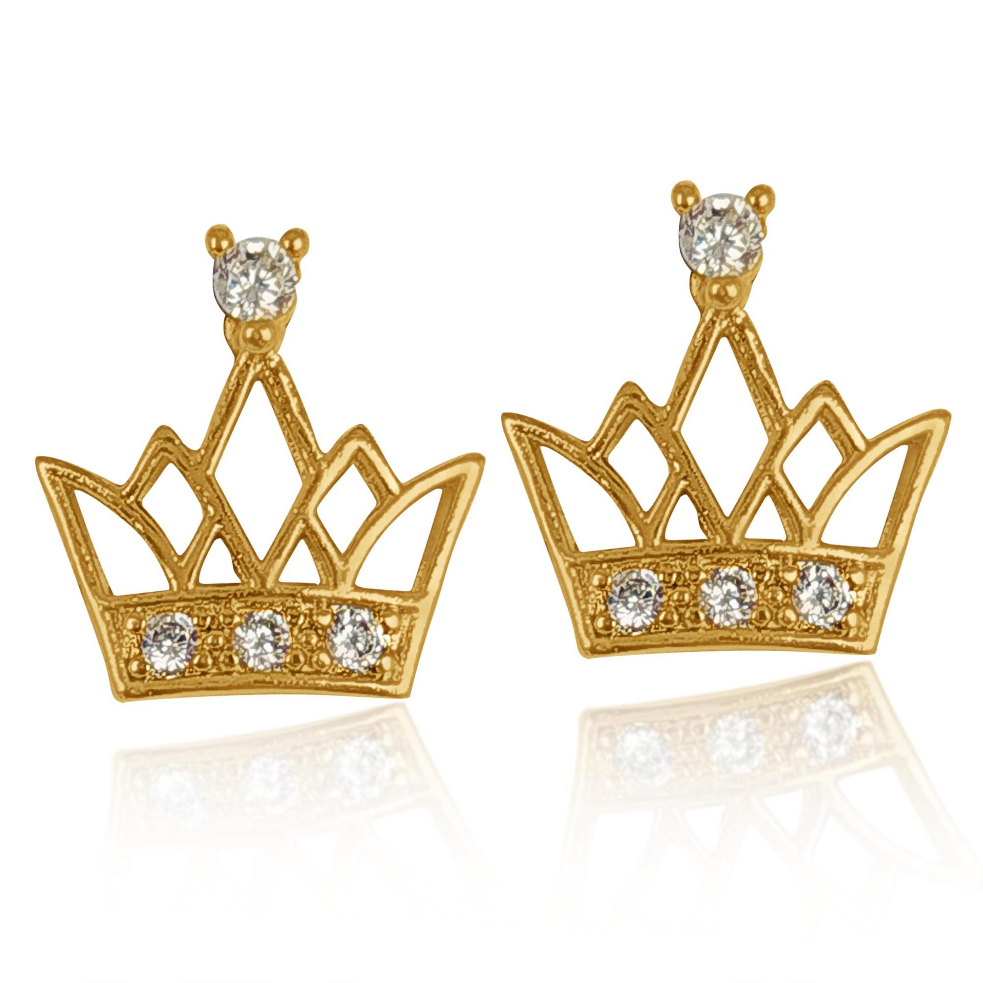 Brinco Pequeno Coroas de Zircônia Folheado a Ouro 18k