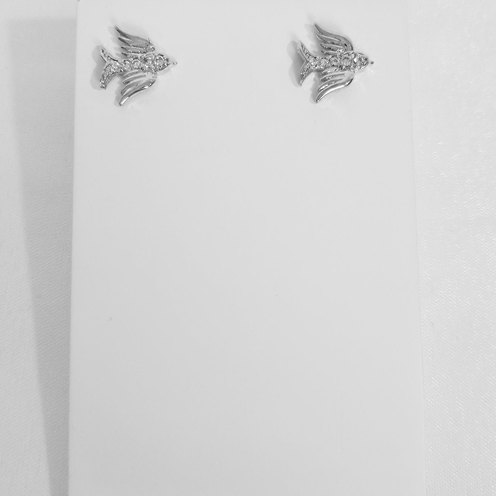 Brinco Pequeno Pássaro com Zircônia Folheado a Prata 1000  - Lunozê Joias