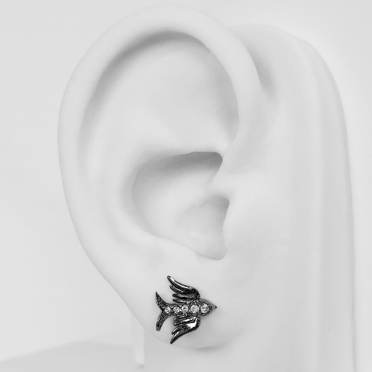 Brinco Pequeno Pássaro com Zircônia Folheado a Ródio Negro  - Lunozê Joias