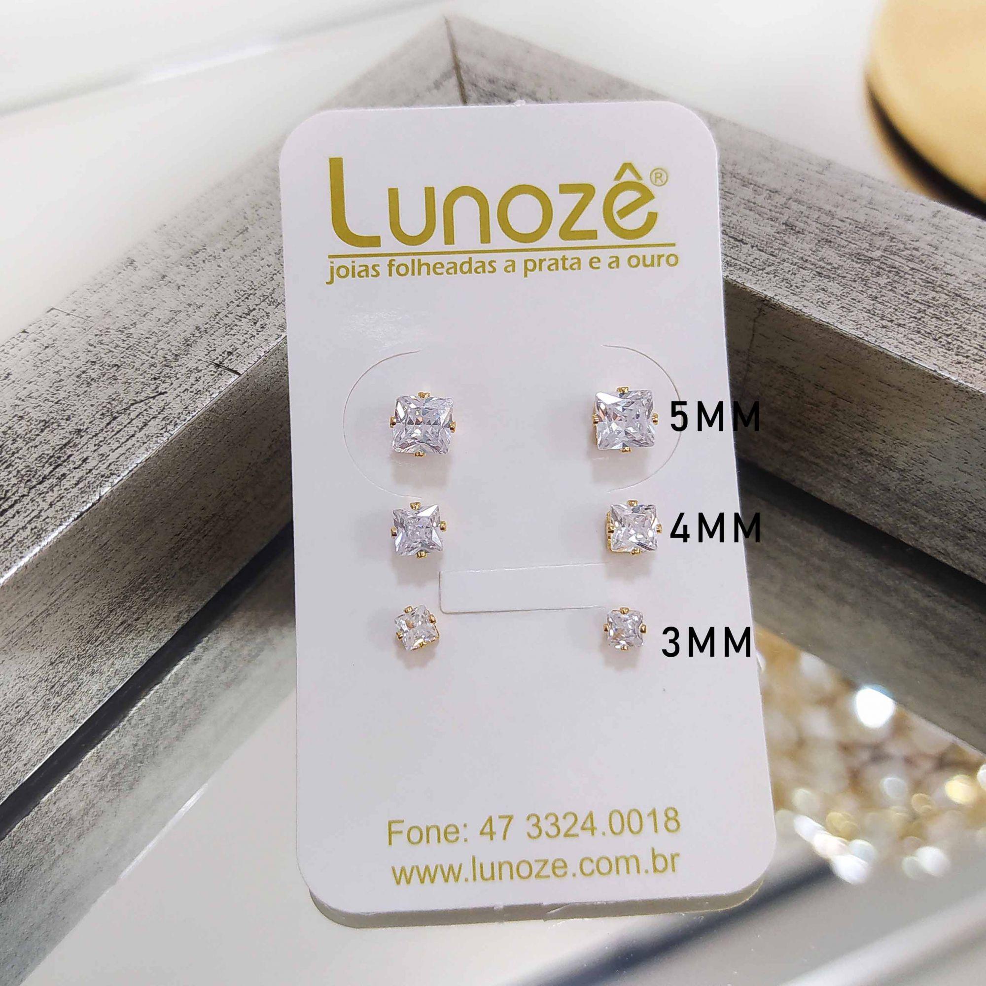 Brinco Pequeno Quadrado 3mm Zircônia Folheado a Ouro 18k  - Lunozê Joias