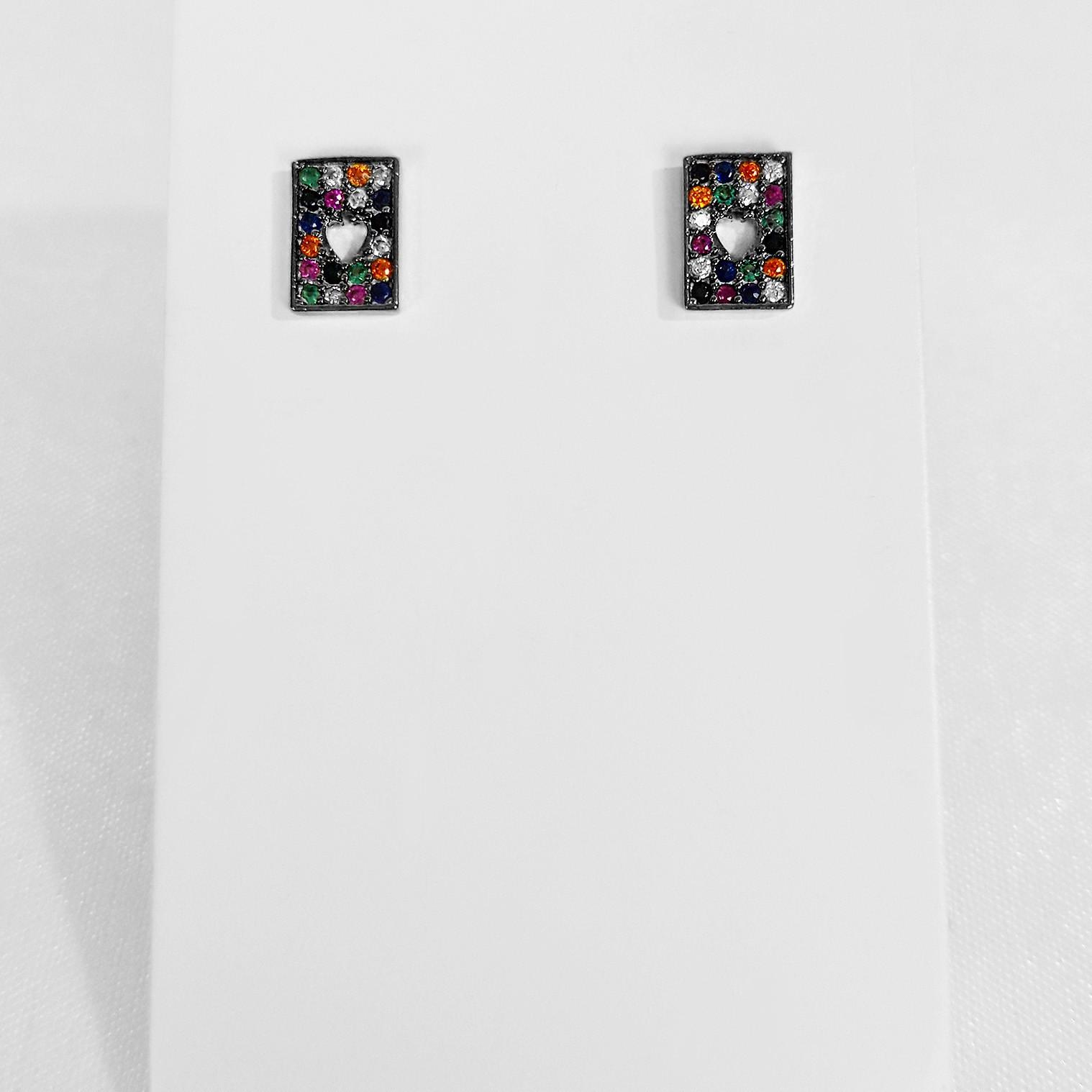 Brinco Pequeno Retangular Colorido Zircônia Banho Ródio Negro  - Lunozê Joias