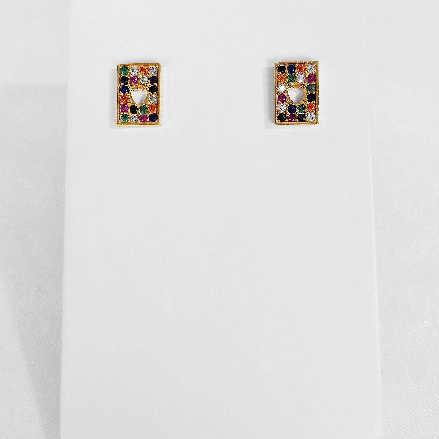 Brinco Pequeno Retangular Colorido Zircônia Folheado Ouro 18K
