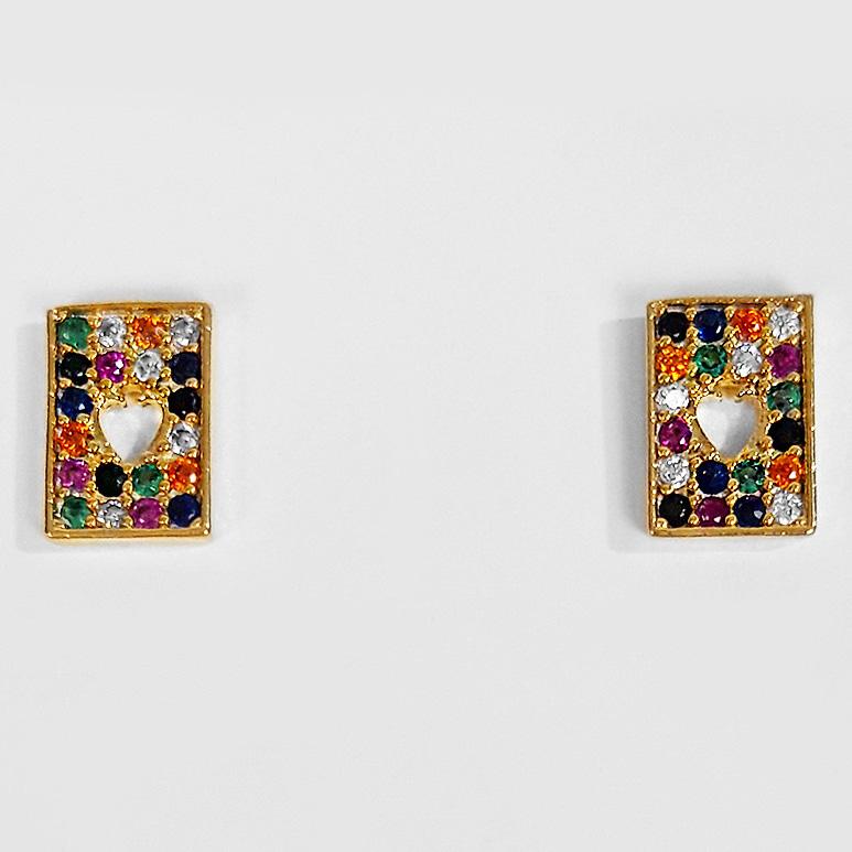 Brinco Pequeno Retangular Colorido Zircônia Folheado Ouro 18K  - Lunozê Joias