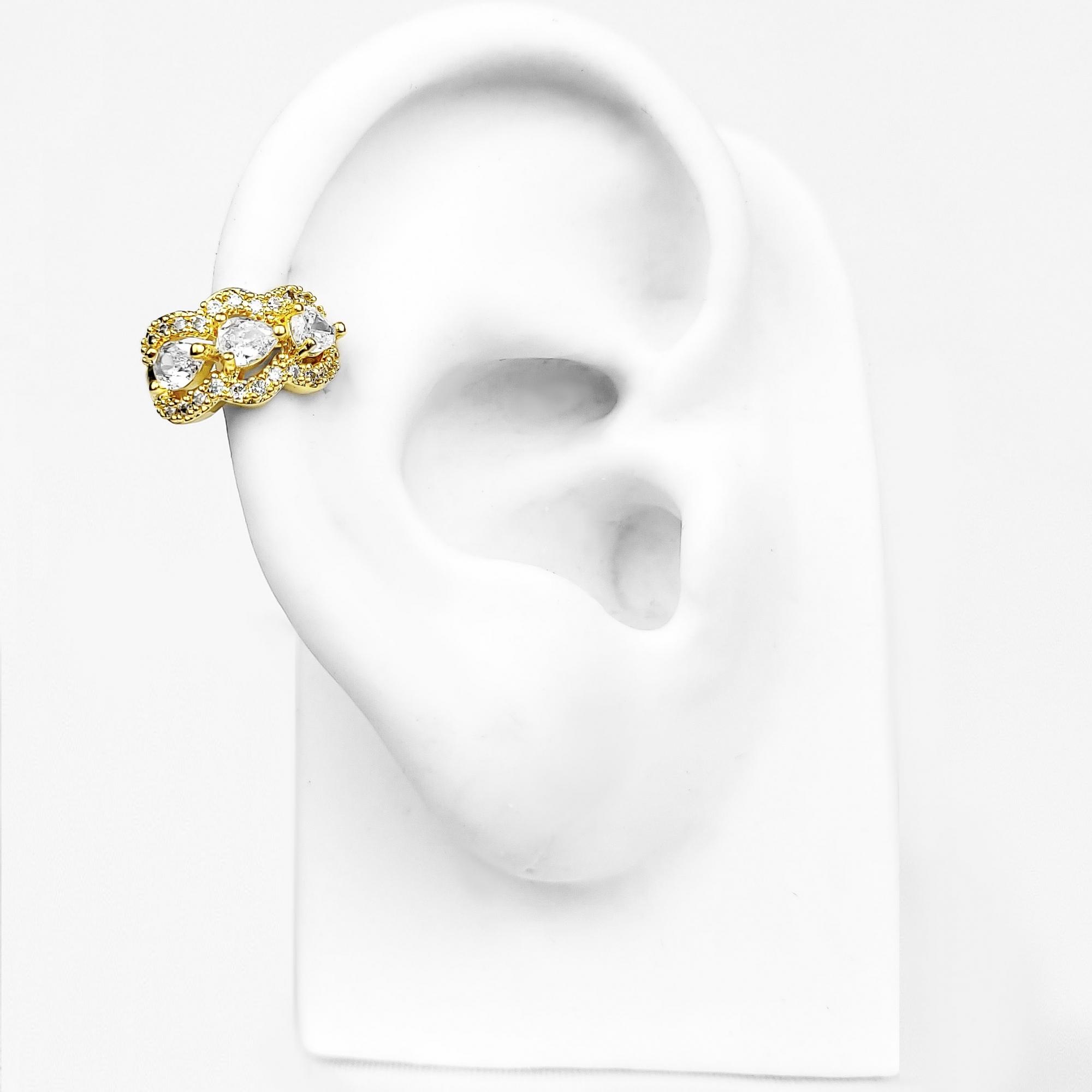Brinco Piercing Fake 3 Gotas de Zircônias Folheado Ouro 18k  - Lunozê Joias