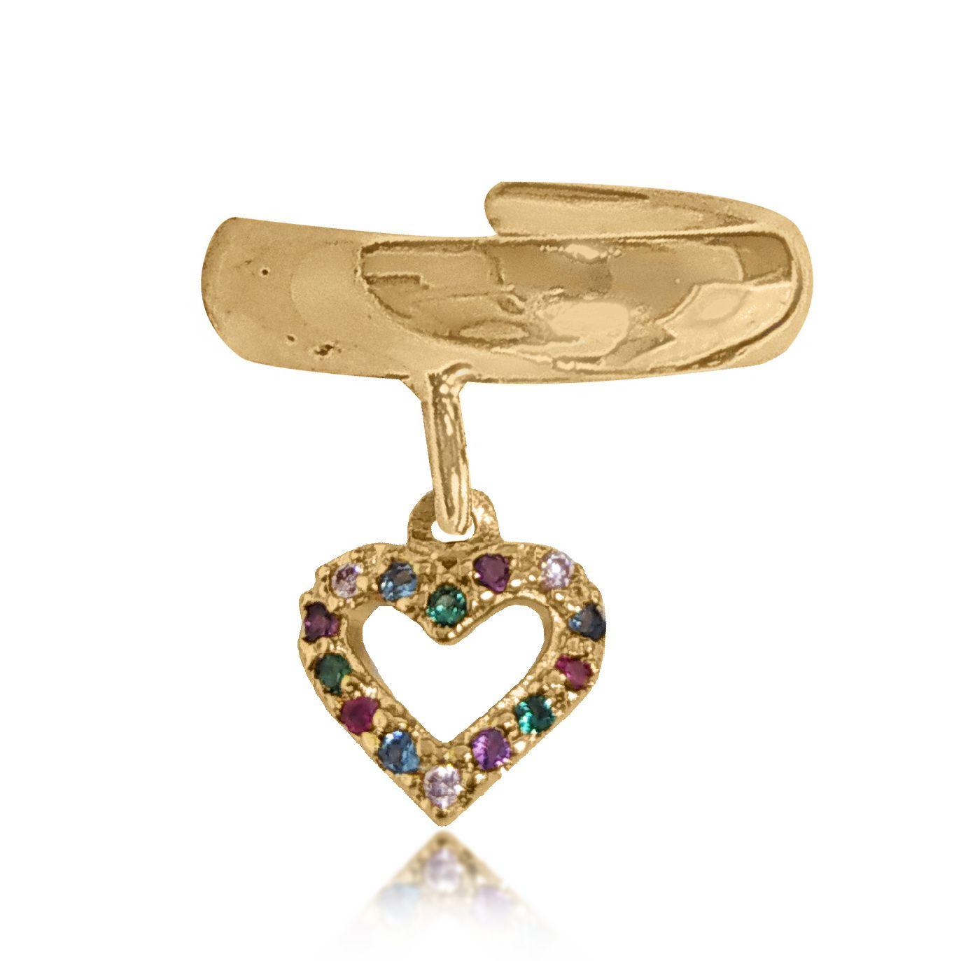 Brinco Piercing Fake Coração Colorido Folheado Ouro 18K   - Lunozê Joias