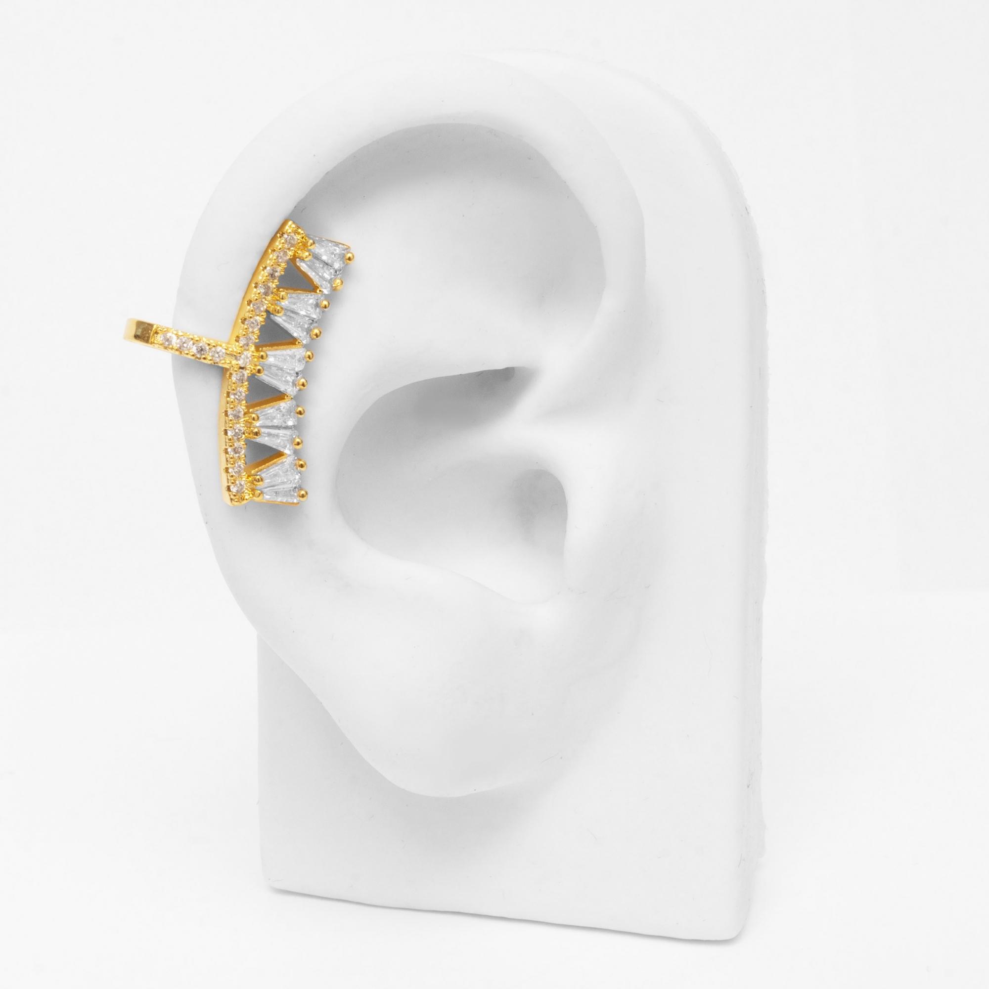 Brinco Piercing Fake Ear Cuff Zircônias Folheado a Ouro 18k  - Lunozê Joias