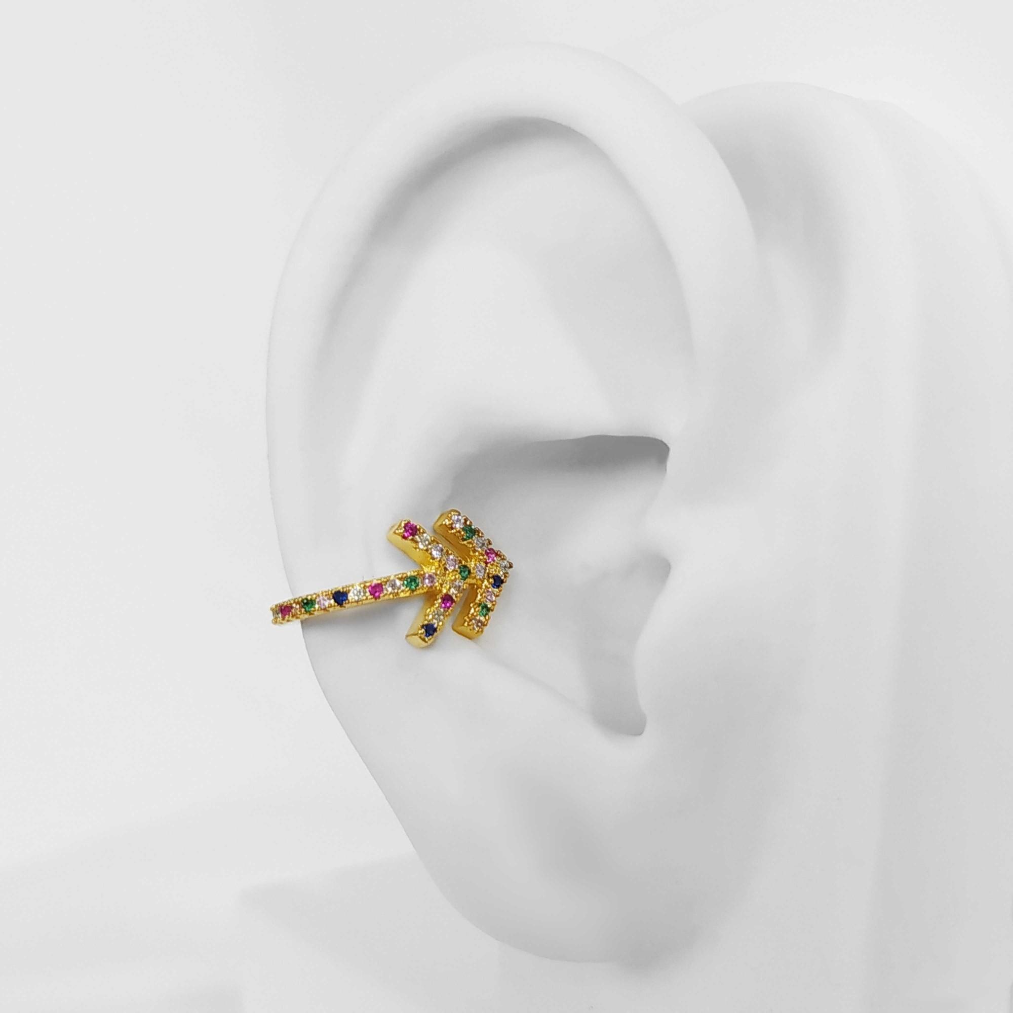 Brinco Piercing Fake Flecha Zircônias Folheado Ouro 18k  - Lunozê Joias