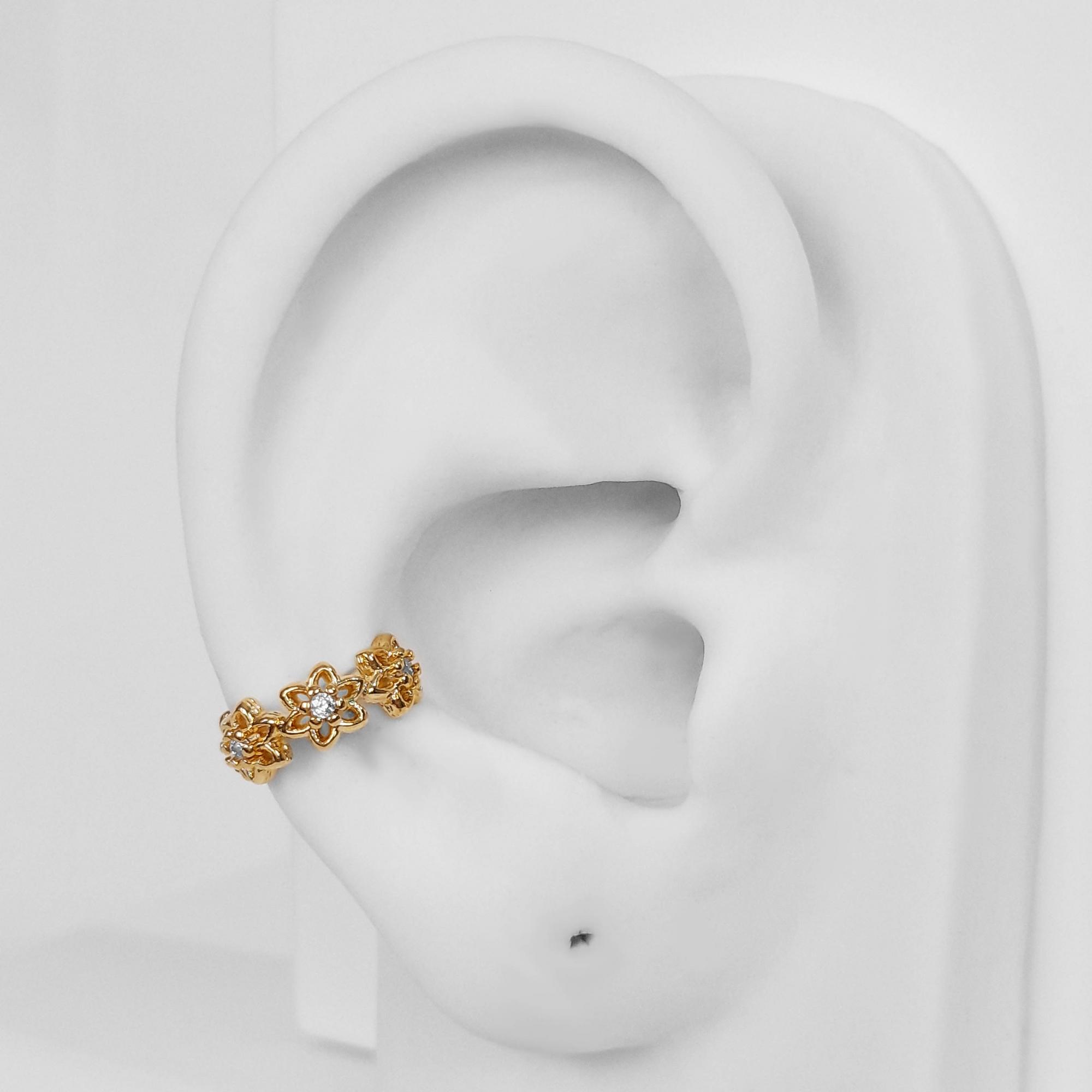 Brinco Piercing Fake Flor Zircônia Folheado Ouro 18k  - Lunozê Joias
