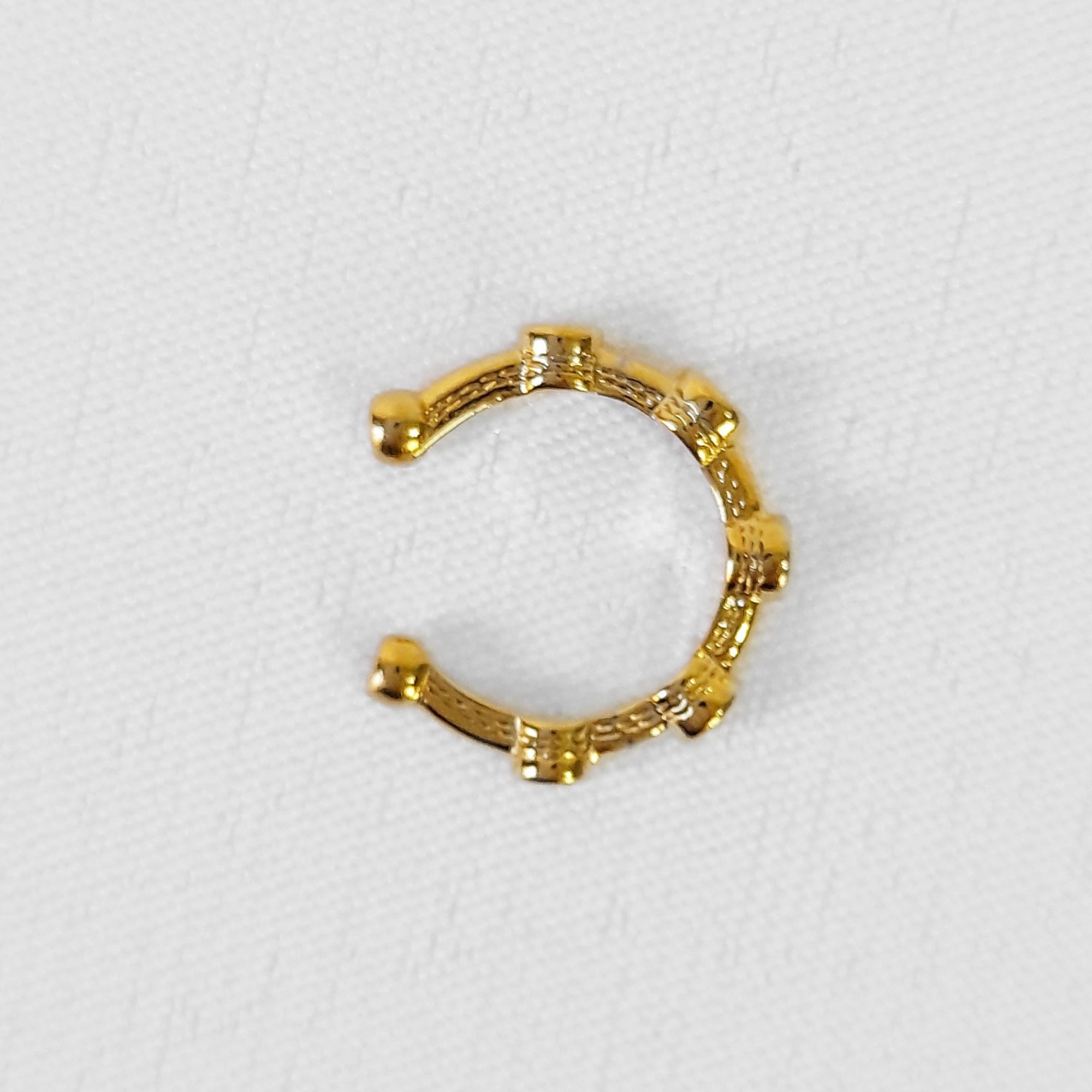 Brinco Piercing Fake Pontos Zircônia Folheado Ouro 18k  - Lunozê Joias