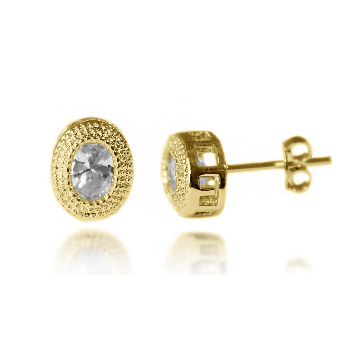 Brinco Ponto de Luz Oval Diamantado com Zircônia Folheado a Ouro 18k