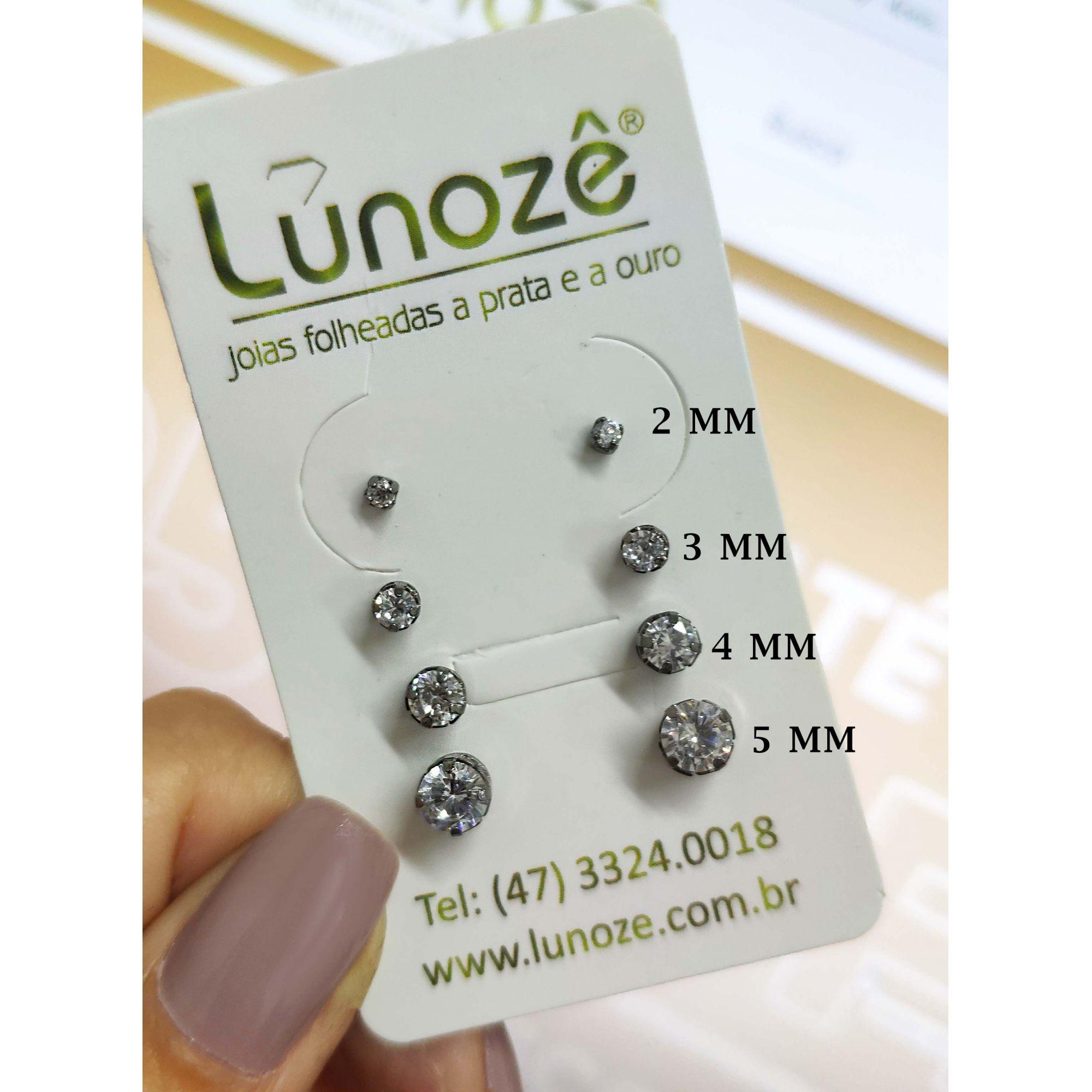 Brinco Pequeno Ponto de Luz Zircônia 3mm Banho Ródio Negro