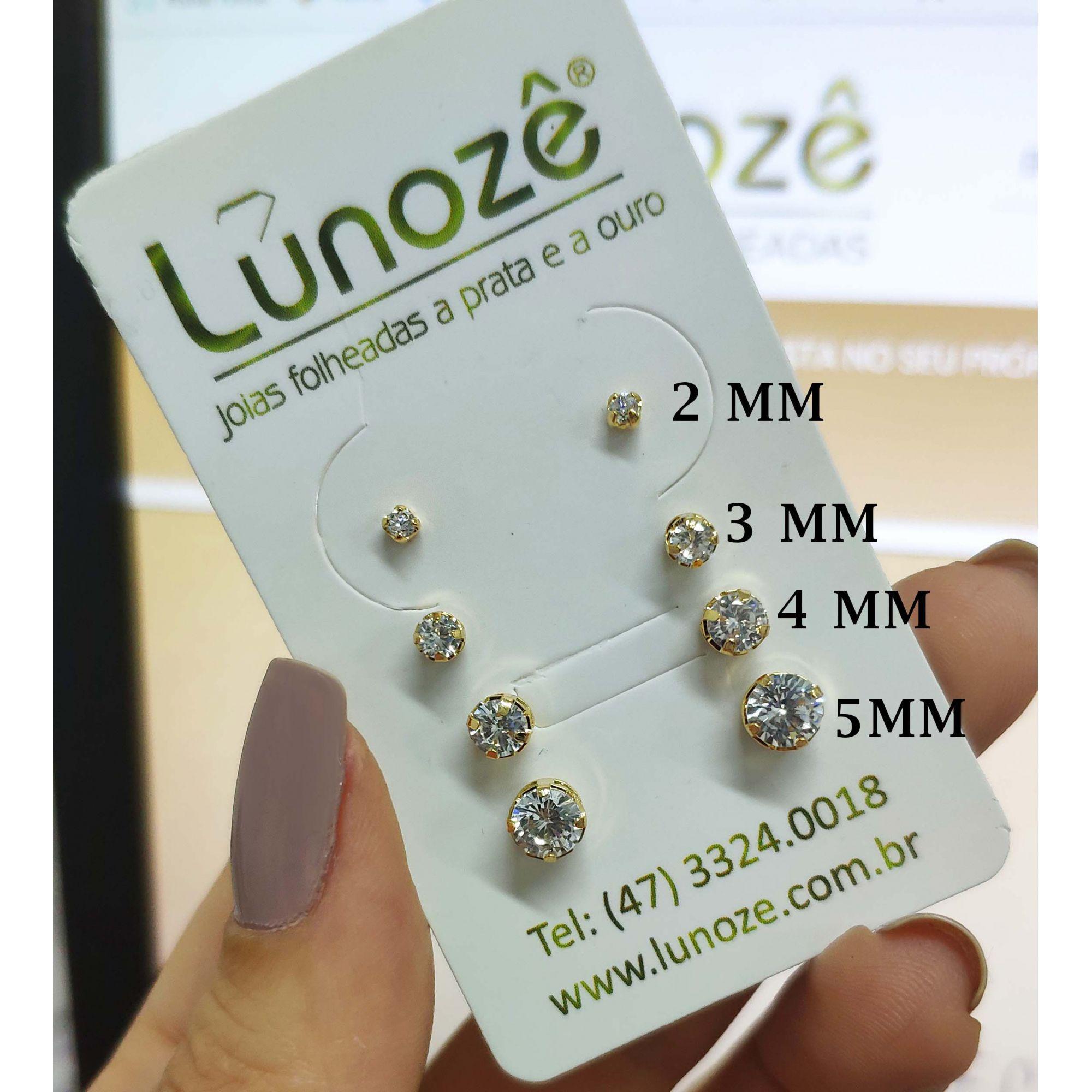 Brinco Pequeno Ponto de Luz Zircônia 5mm Folheado Ouro 18k