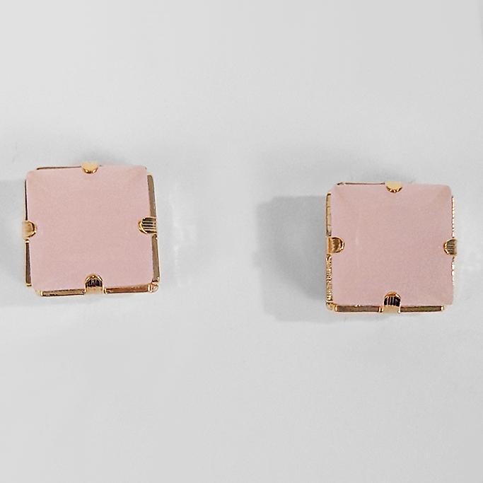 Brinco Quadrado Pedra Acrílica 8 mm  Folheado a Ouro 18k  - Lunozê Joias