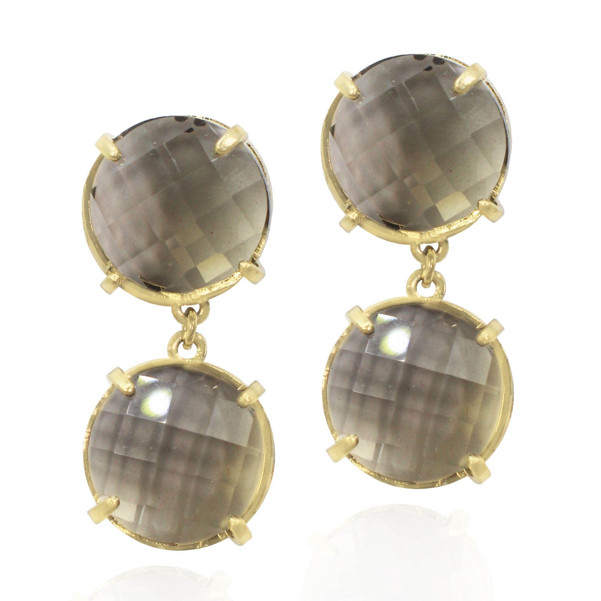 Brinco Round Pedra Acrílica Folheado a Ouro 18k