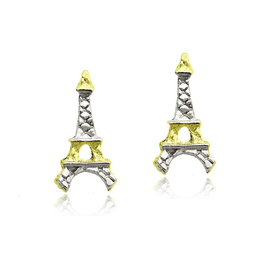 Brinco Torre Eiffel Folheado Ouro+ Ródio