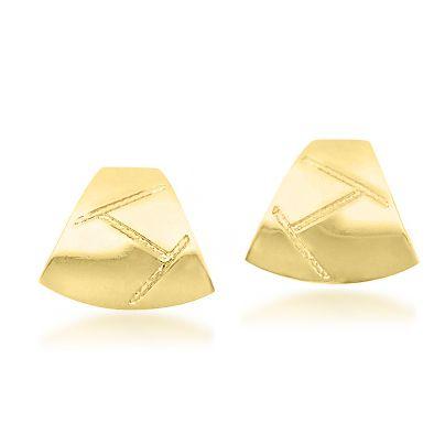 Brinco Triângulo Detalhado Folheado a Ouro 18k