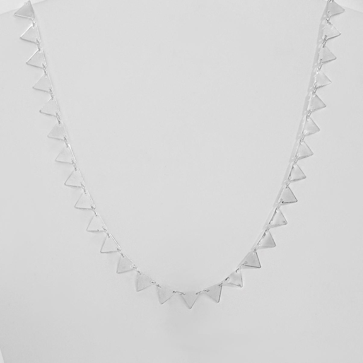 Colar 40cm Triângulos Folheado Prata 1000  - Lunozê Joias