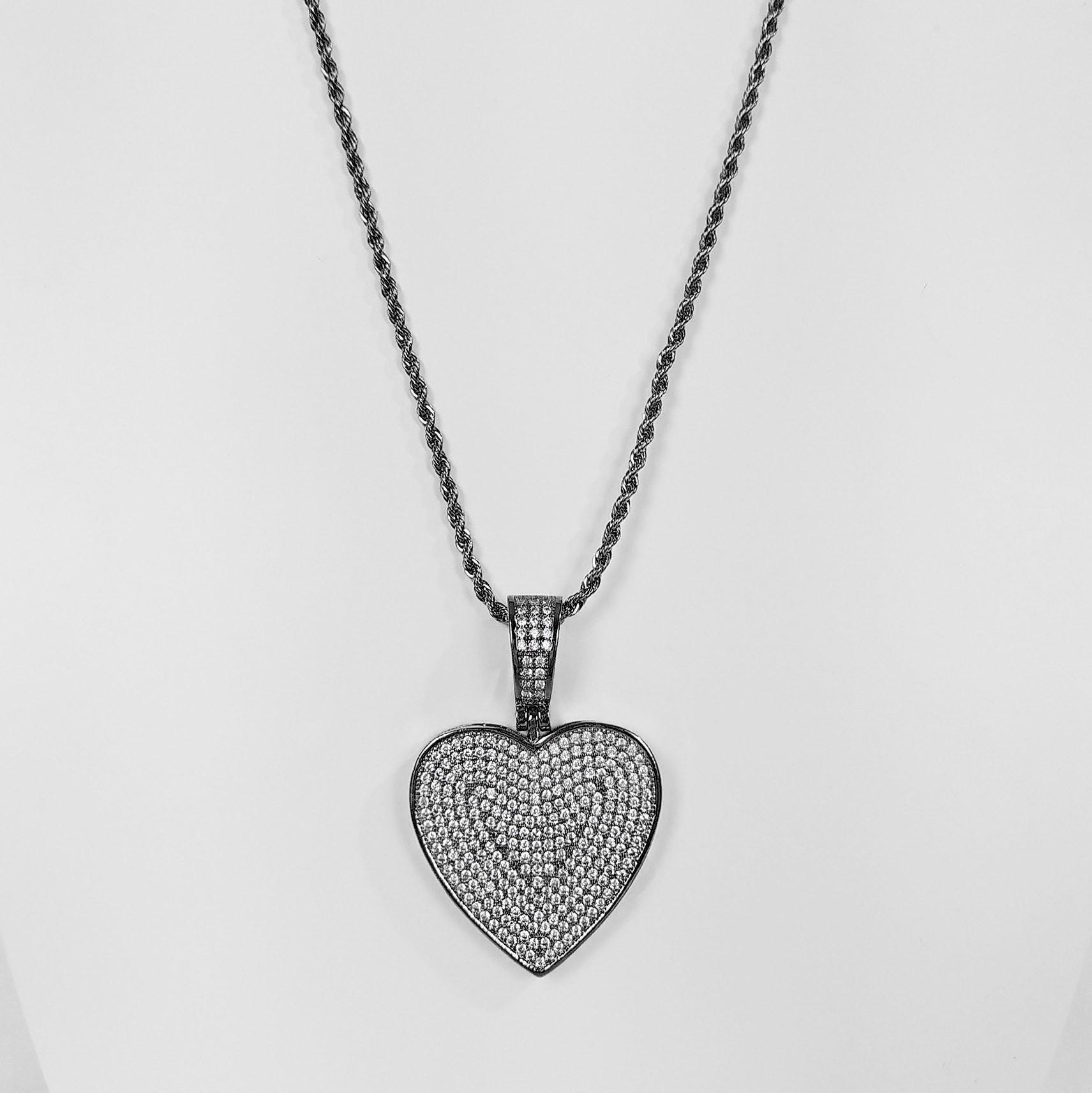 Colar 45 cm Coração Luxo Cravejado Banho Ródio Negro  - Lunozê Joias