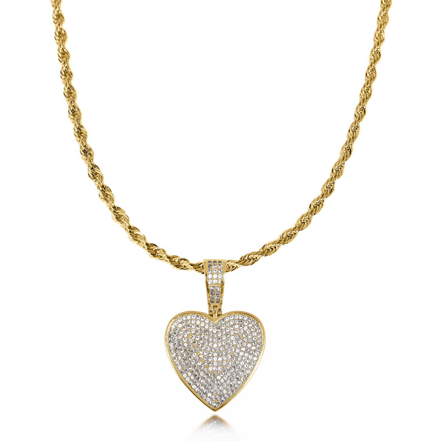 Colar 45 cm Coração Luxo Cravejado Folheado a Ouro 18k  - Lunozê Joias